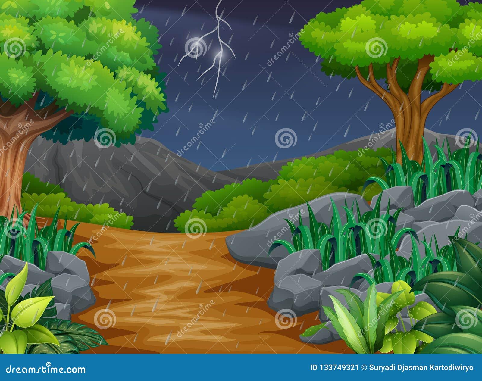 Сцена предпосылки с дождем в парке