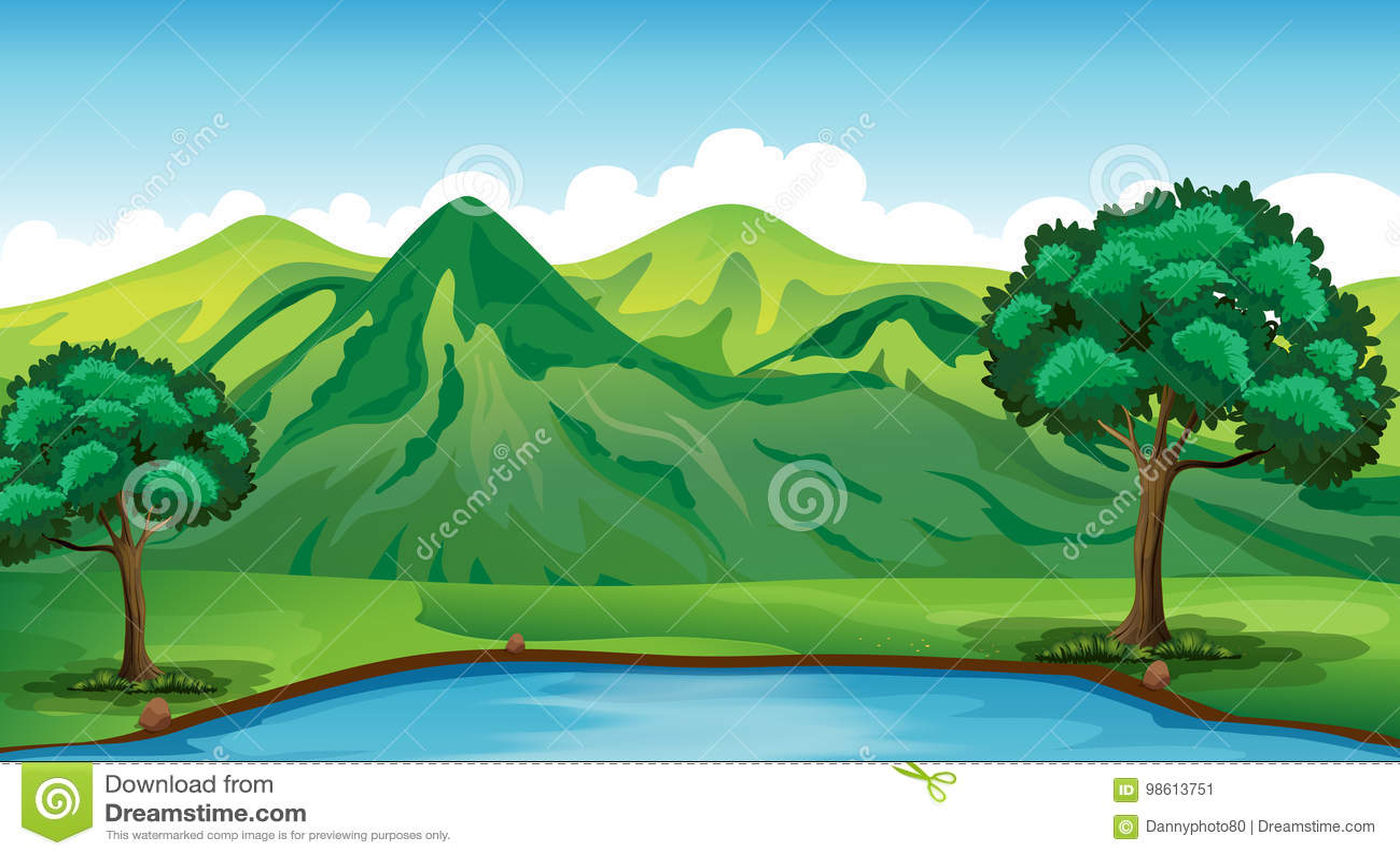 Сцена предпосылки с зелеными горой и прудом