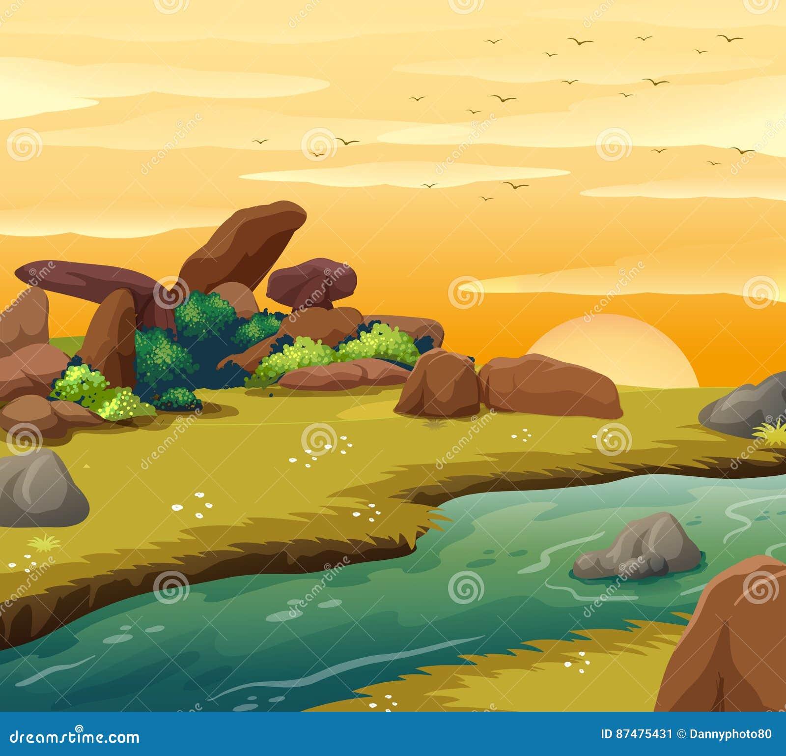 Сцена предпосылки с рекой на заходе солнца