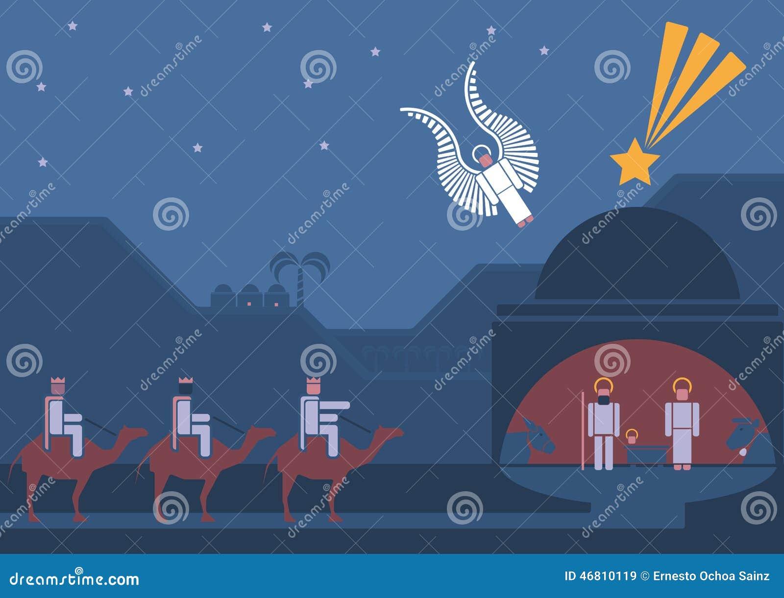 Сцена рождества и 3 мудрецы