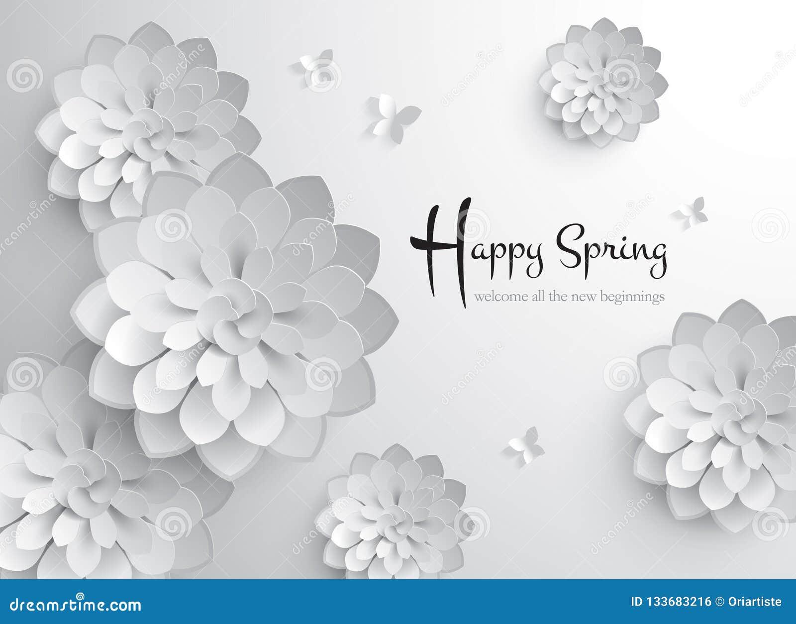счастливая весна График вектора бумажный цветения