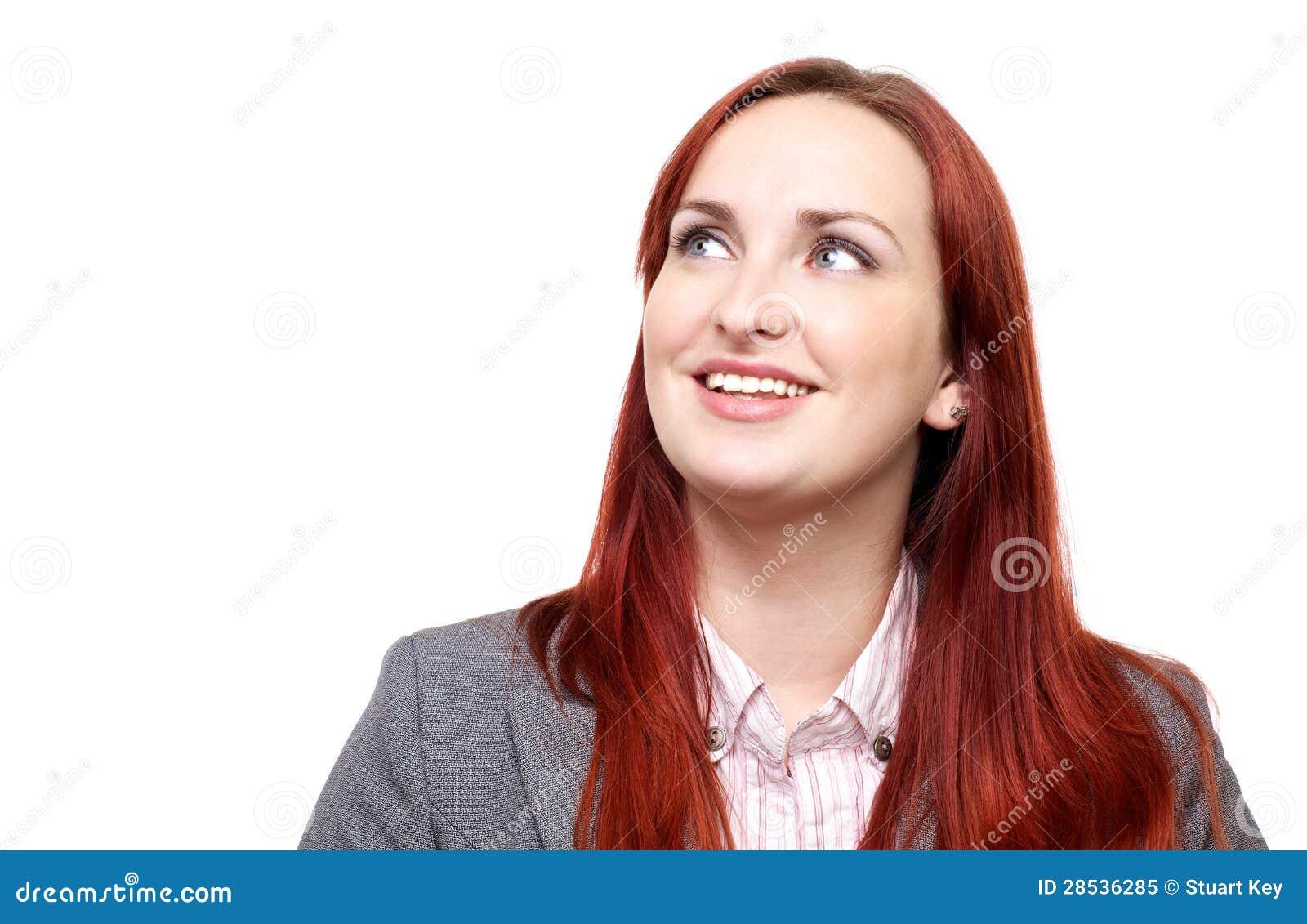 Счастливая женщина, смотря вверх