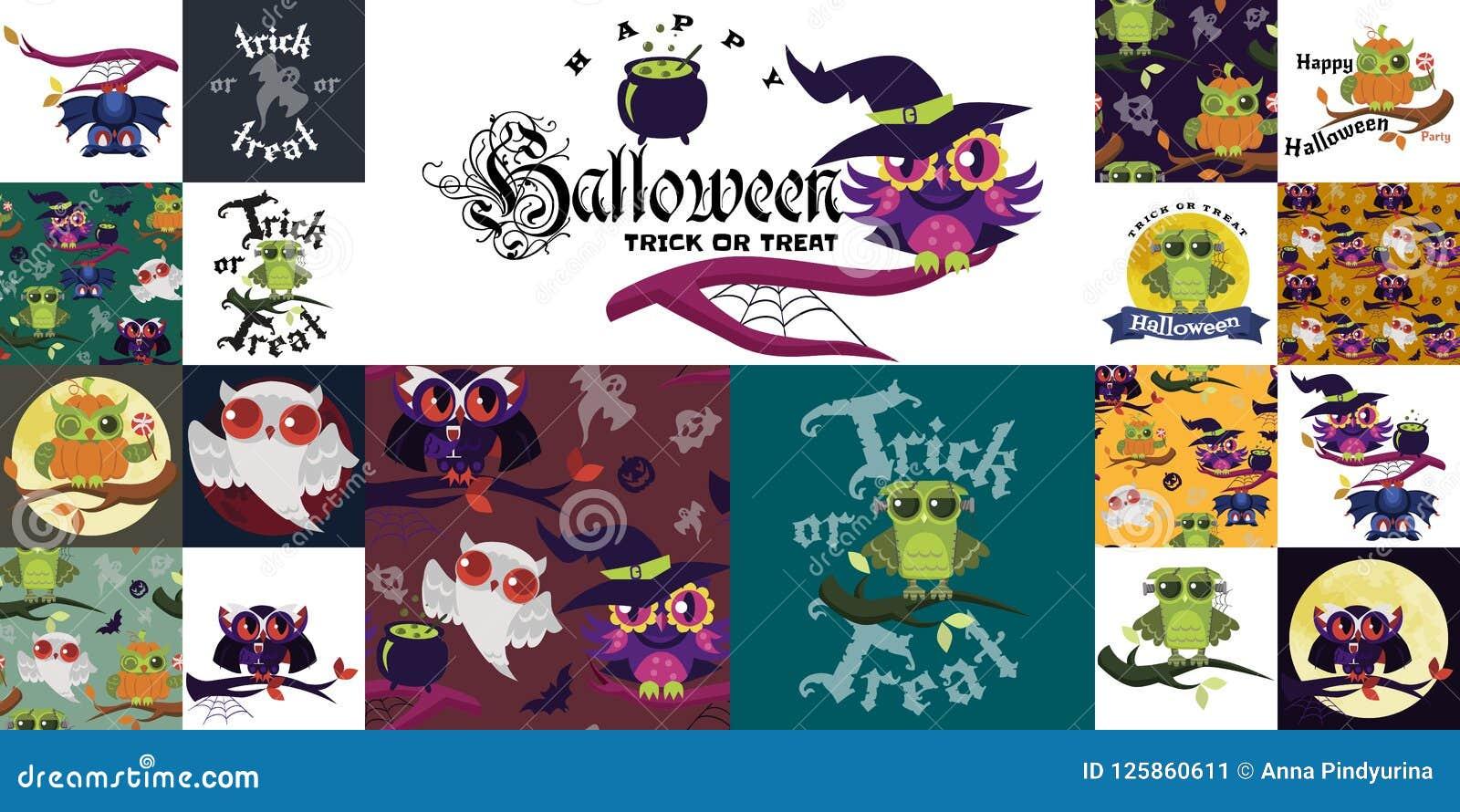Счастливая иллюстрация вектора комплекта хеллоуина плоско красочная Собрание сычей тайны одело в костюмах ведьмы Дракула