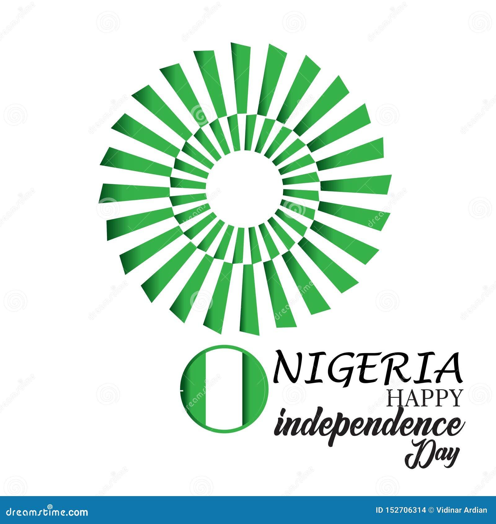 Счастливая иллюстрация дизайна шаблона вектора Дня независимости Нигерии