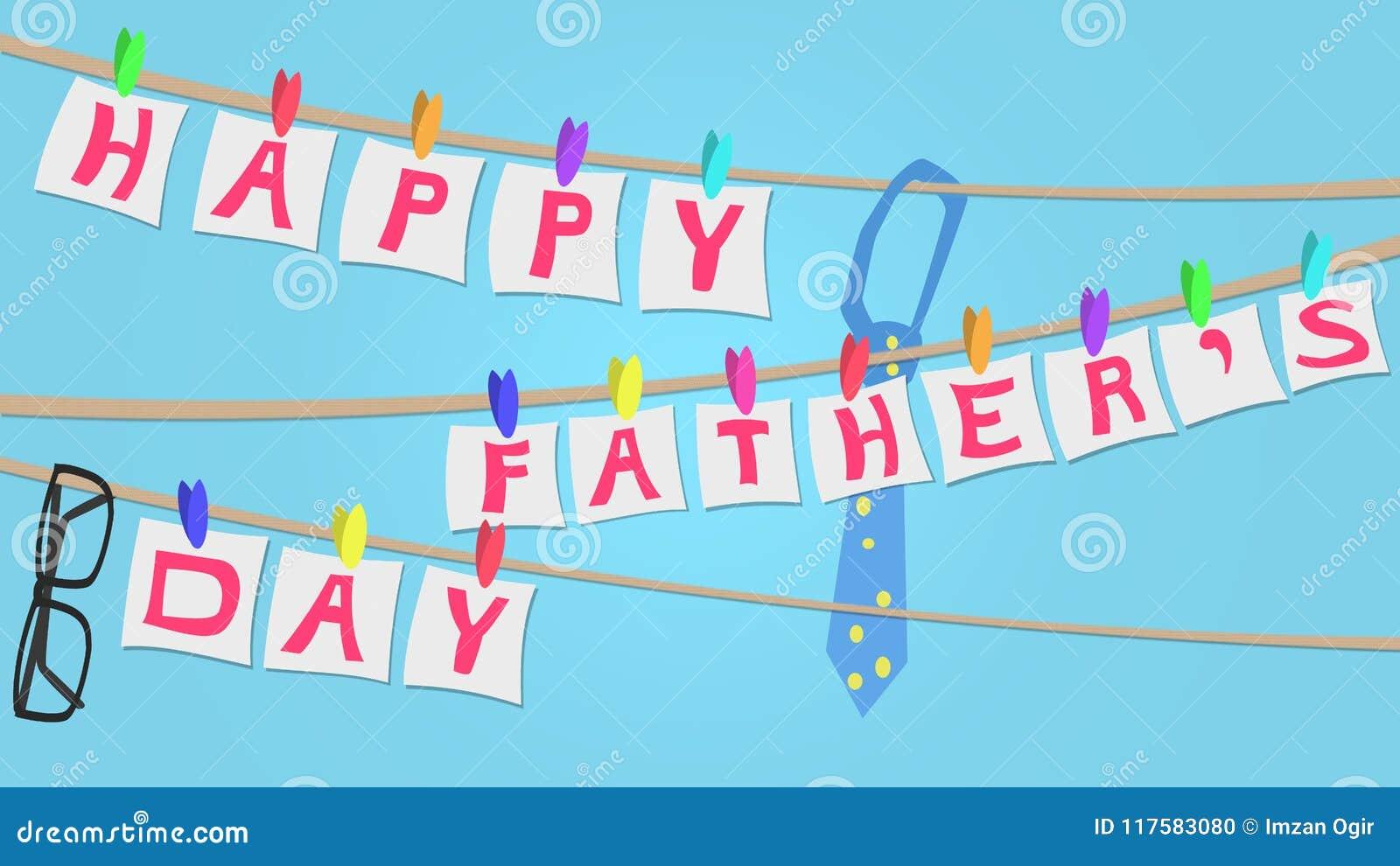 Счастливая иллюстрация поздравительной открытки дня отцов, стиль бельевой веревки
