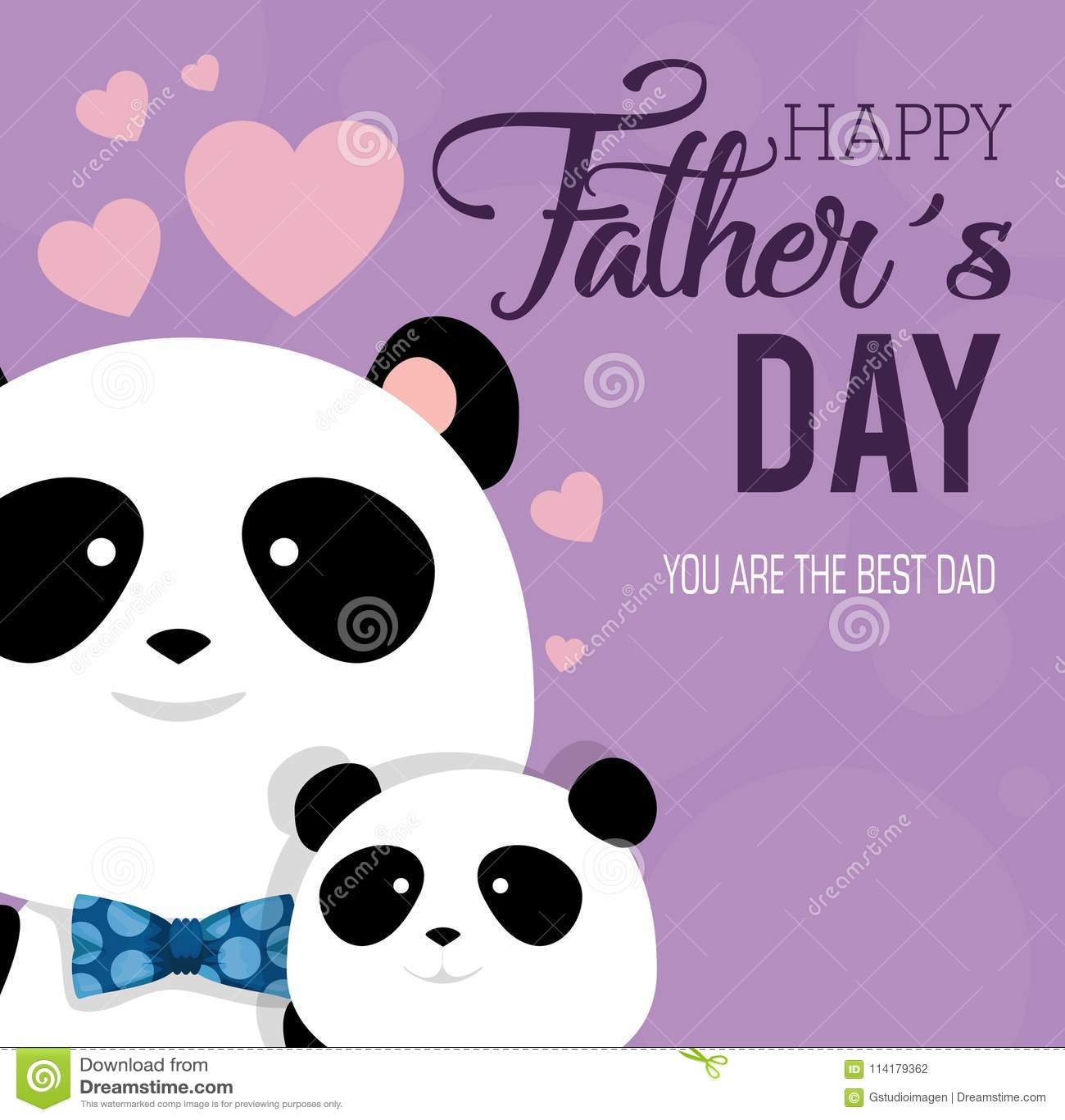 Счастливая карточка дня отцов с медведями панды
