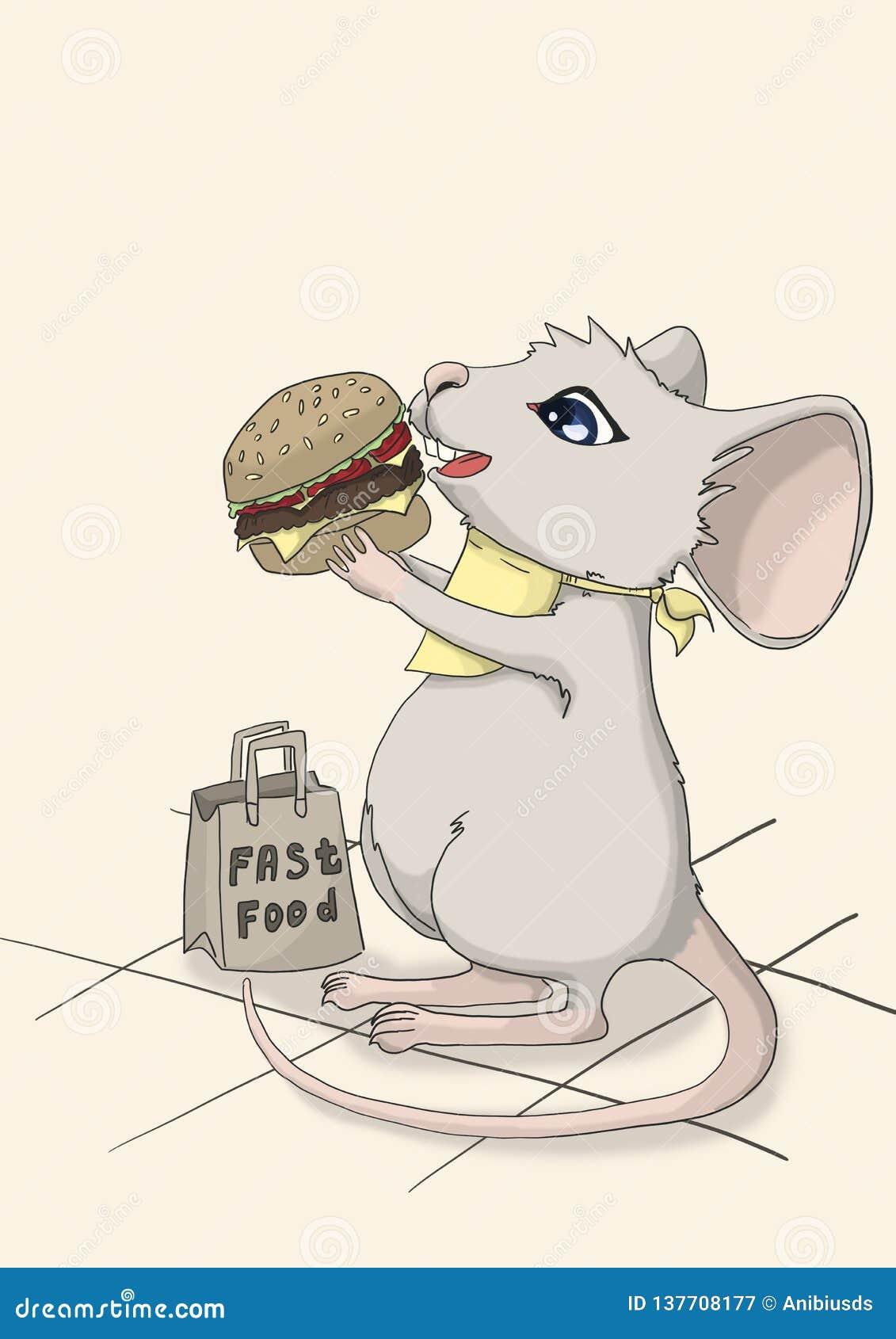 Счастливая мышь ест гамбургер