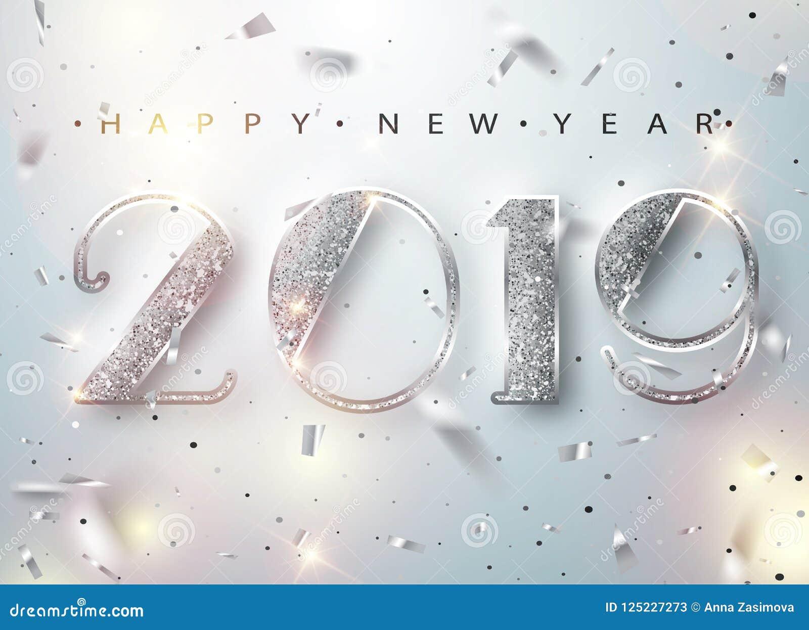 Счастливая Нового Года поздравительная открытка 2019 с серебряными номерами и рамка Confetti на белой предпосылке также вектор ил