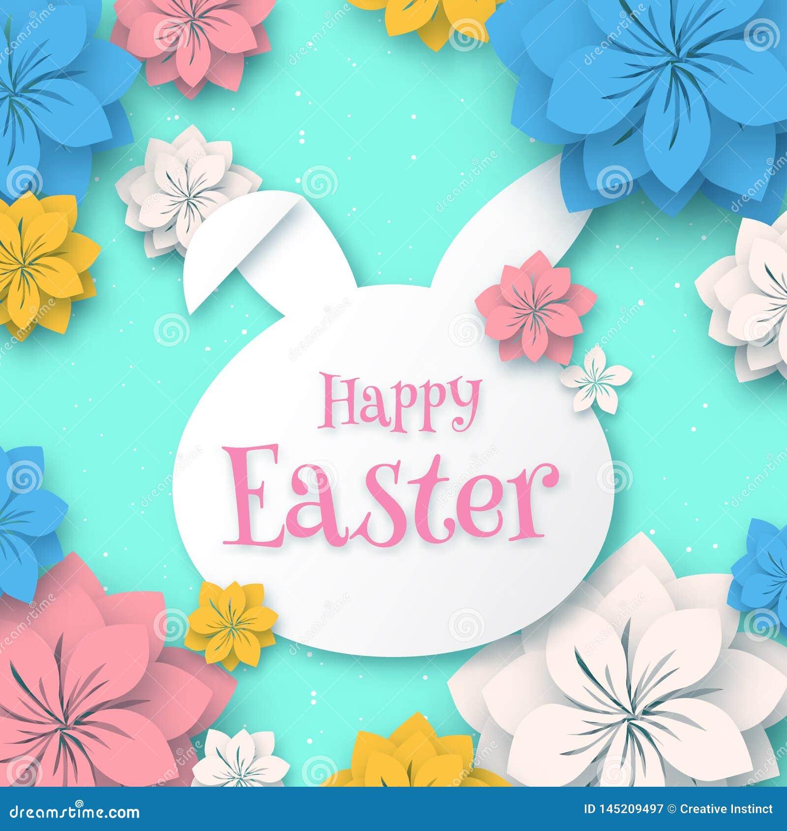 Счастливая пасха, бумажная рамка формы зайчика кролика 3d с бумажным отрезком eps 10