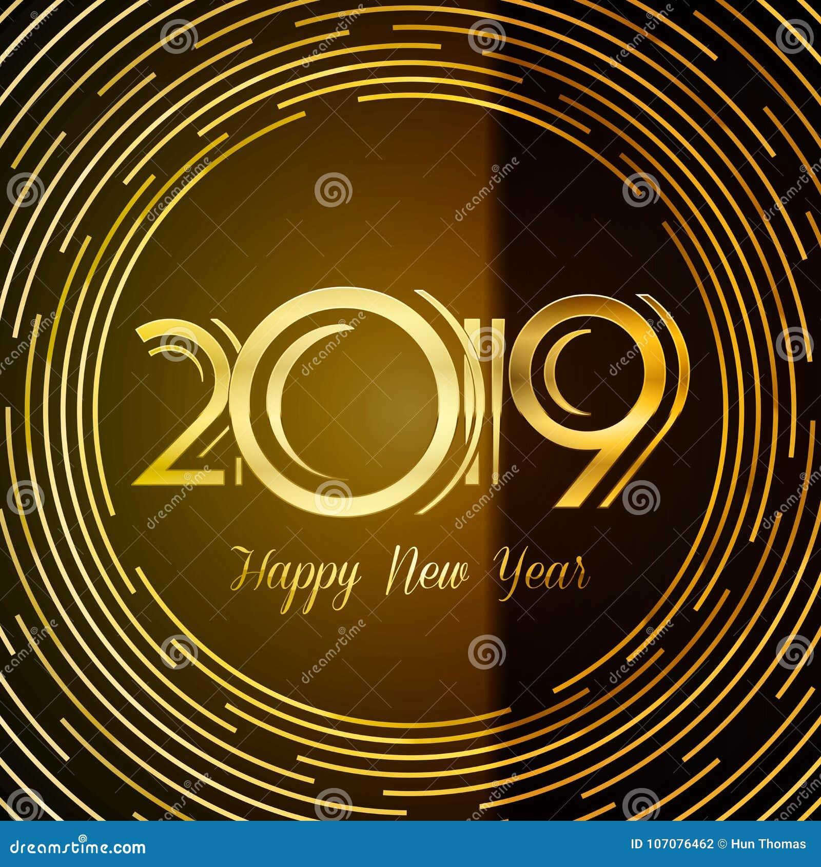 Счастливая поздравительная открытка 2019 - золотые номера Нового Года на темном Backg