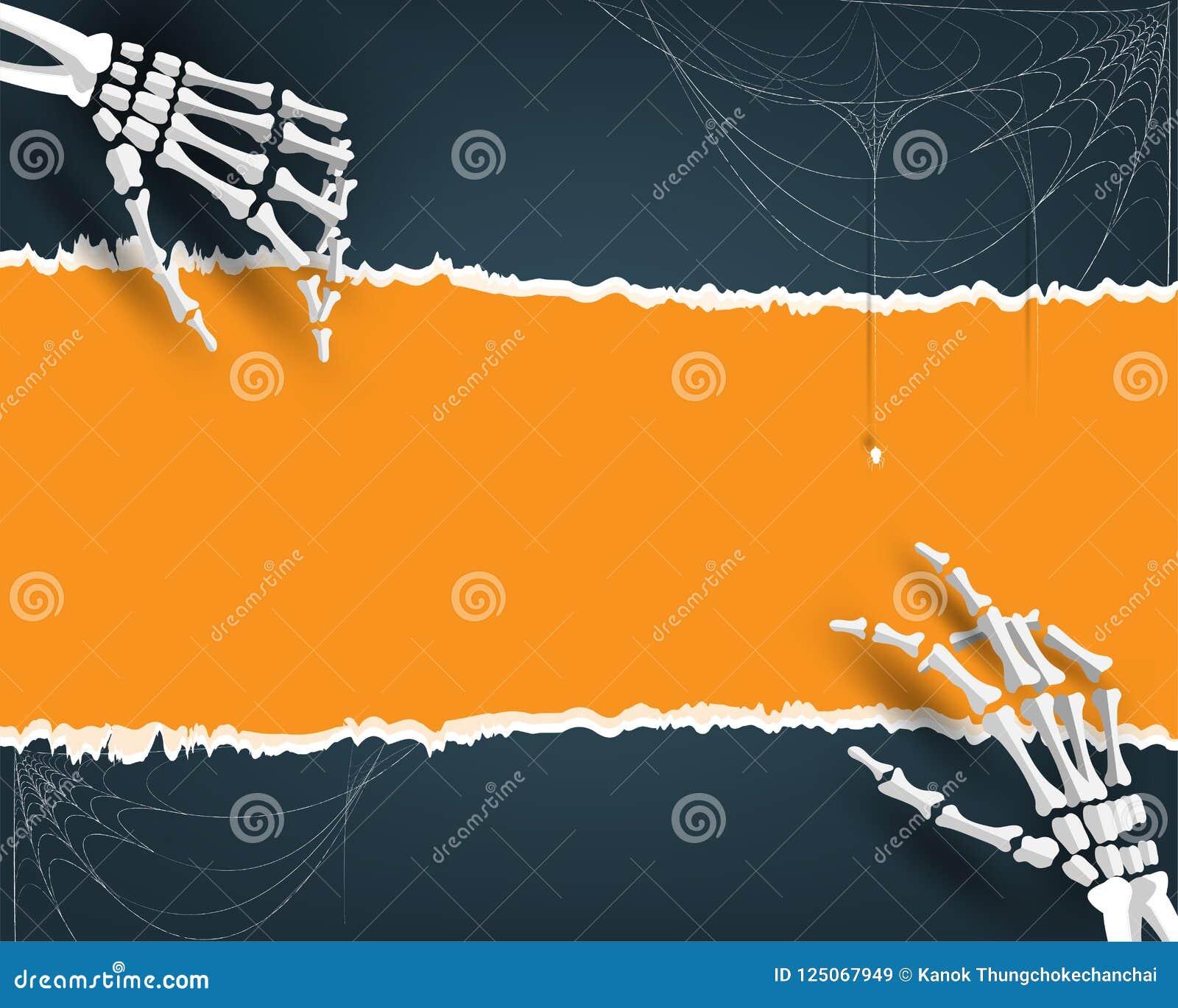 Счастливая предпосылка иллюстрации партии хеллоуина, карточка приглашения на праздники с паутиной косточки руки и шарж паука