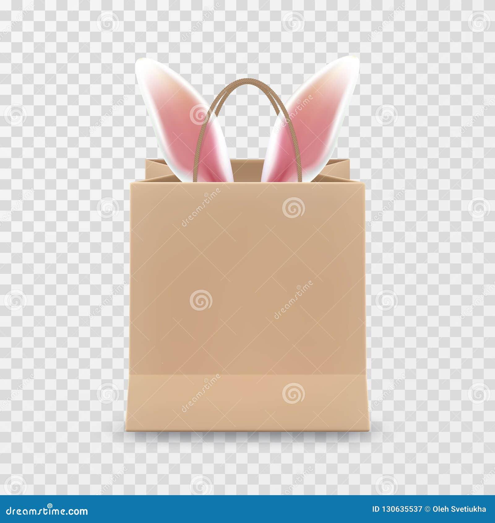 Счастливая продажа пасхи Реалистическая бумажная хозяйственная сумка с ручками изолированными на прозрачной предпосылке также век