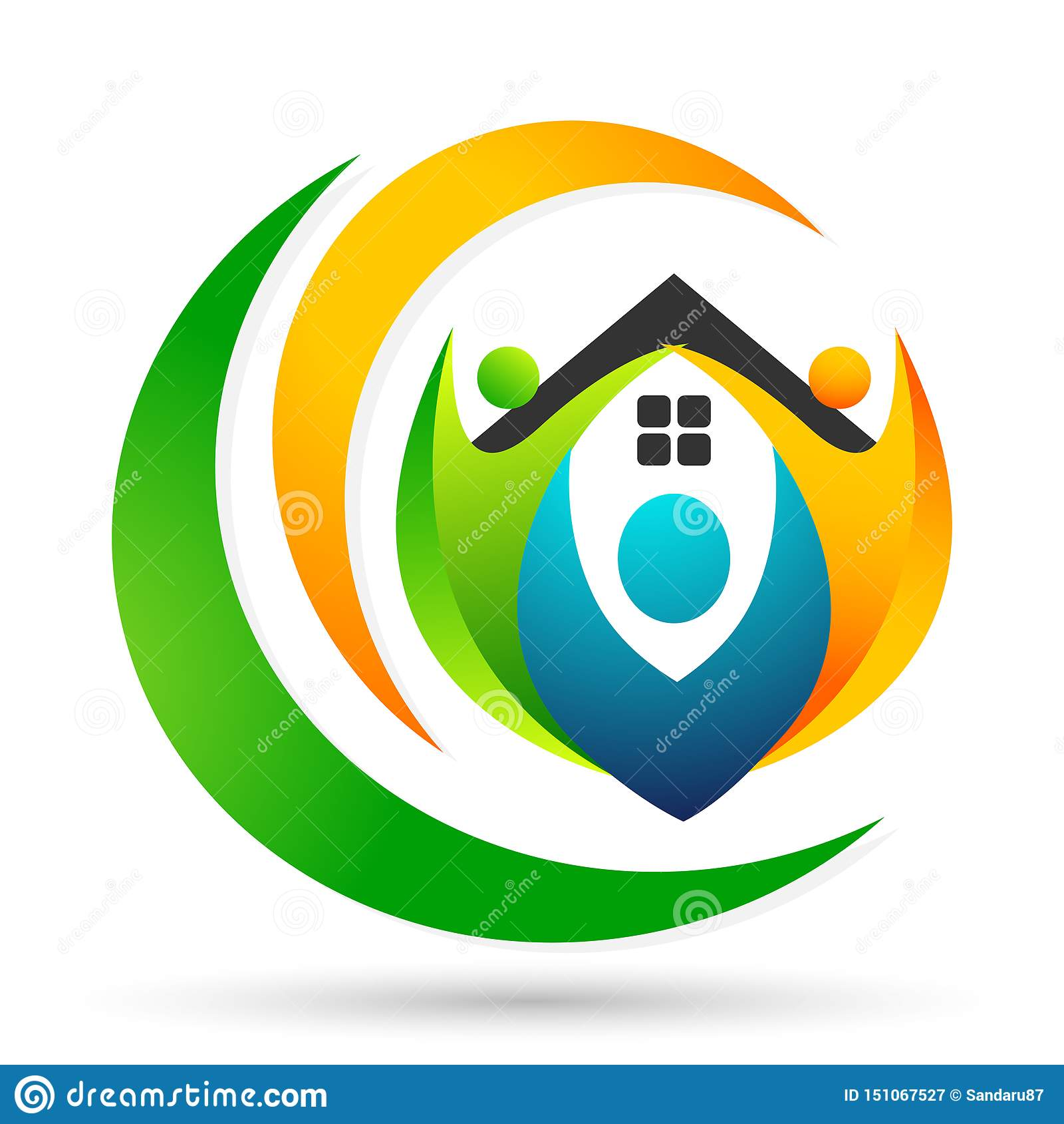 Счастливая семья в домашнем логотипе соединения, семья, родитель, дети, зеленая любовь, воспитание, забота, вектор дизайна значка