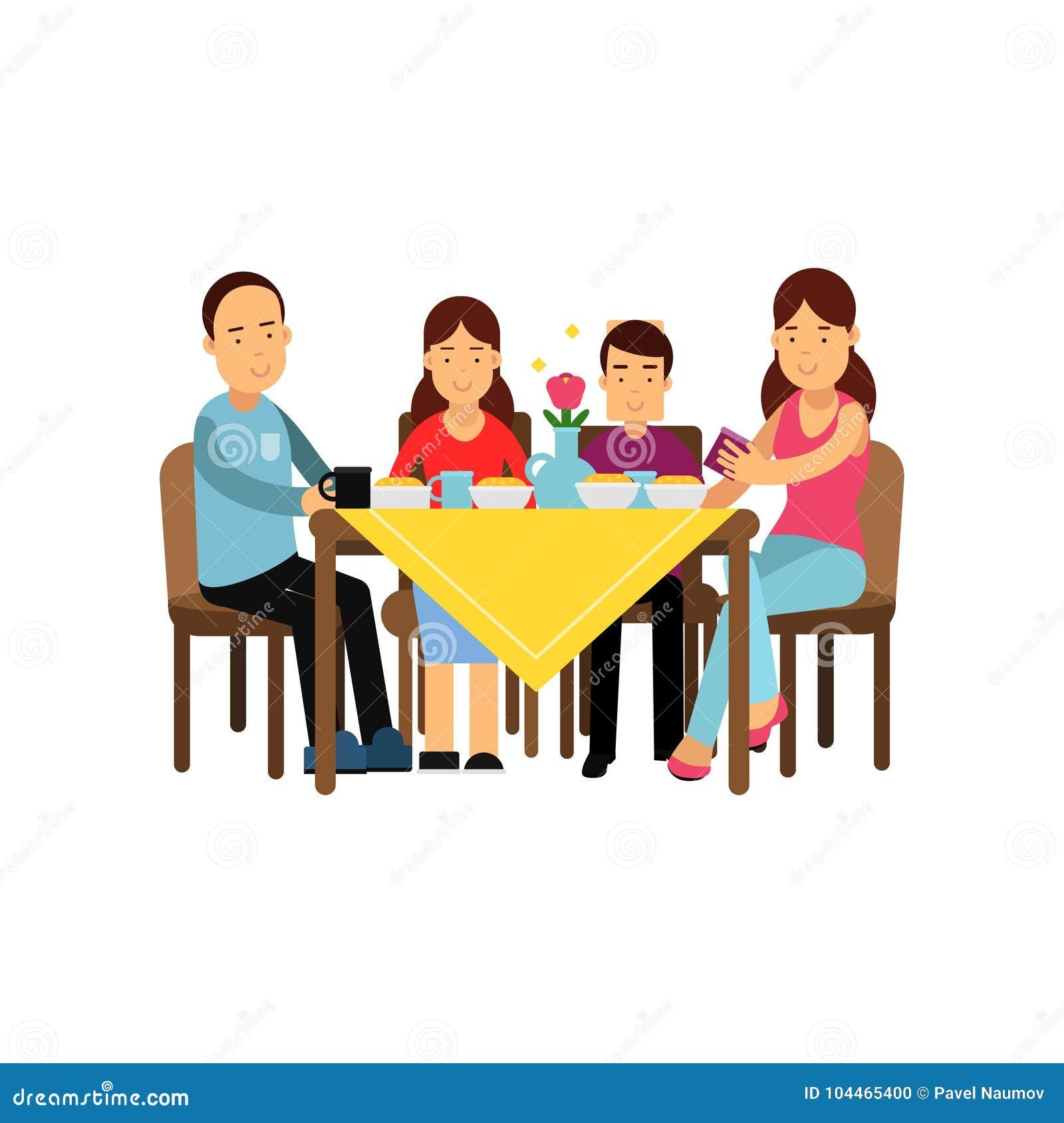 Счастливая семья имея еду совместно, супруг и жена при дети сидя на таблице vector иллюстрация