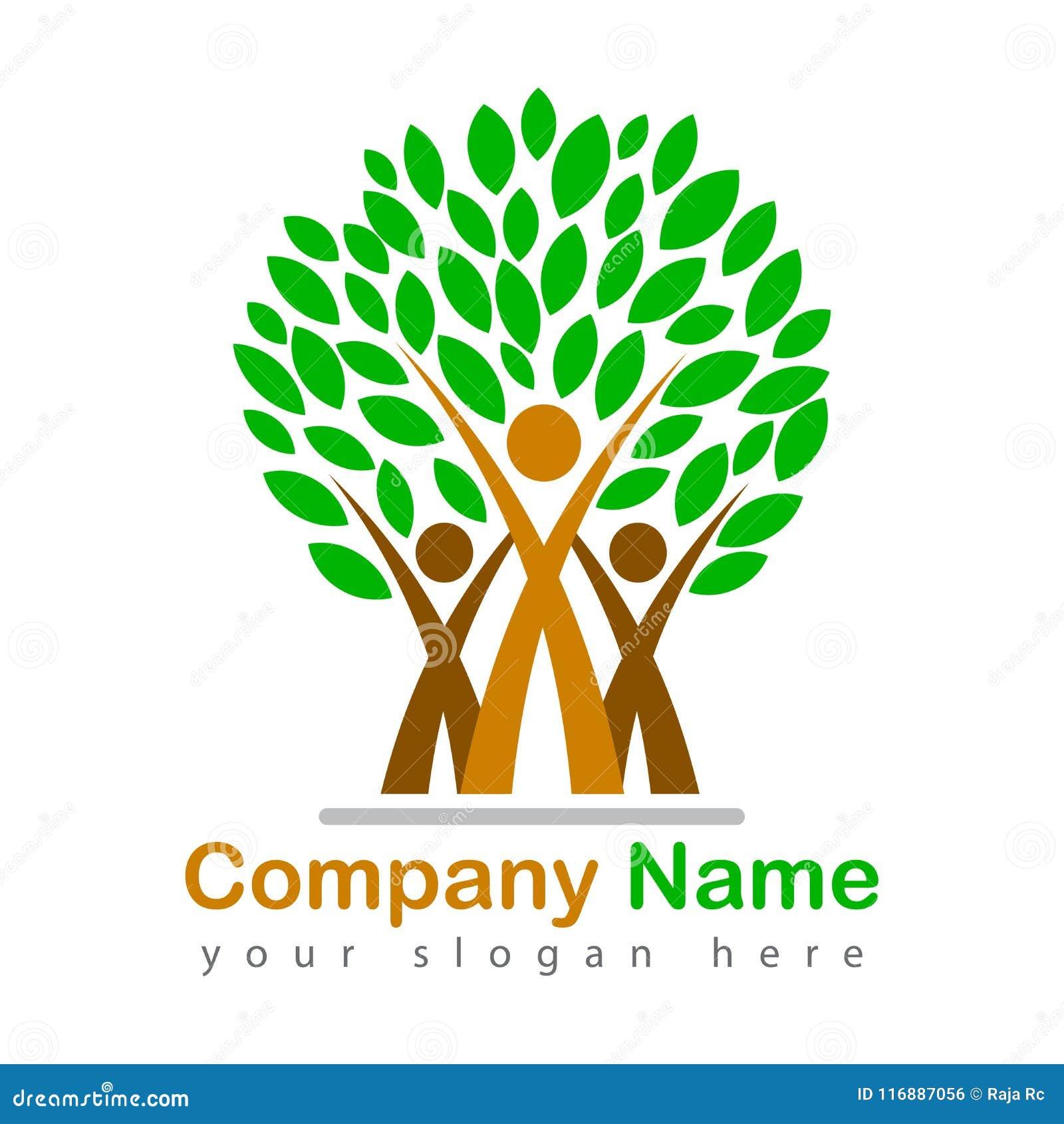 Счастливая amily иллюстрация логотипа дерева