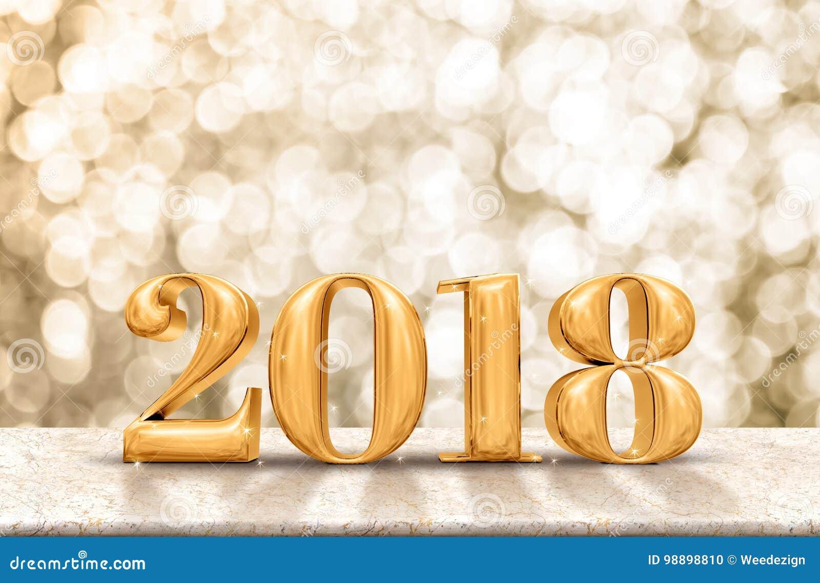 Счастливое золото 2018 Нового Года лоснистое на мраморной таблице с сверкная g