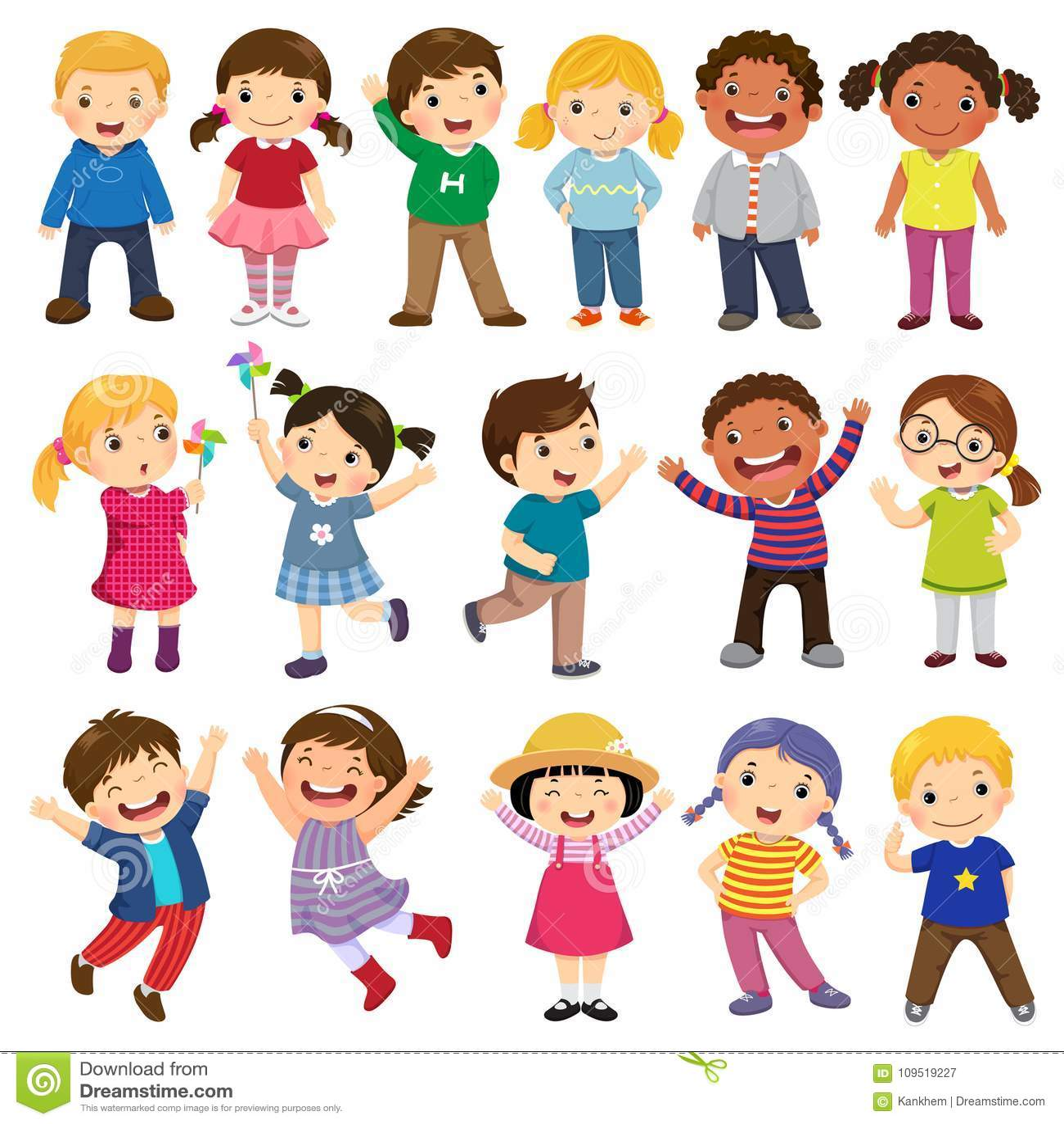 Счастливое собрание шаржа детей Многокультурные дети в differe