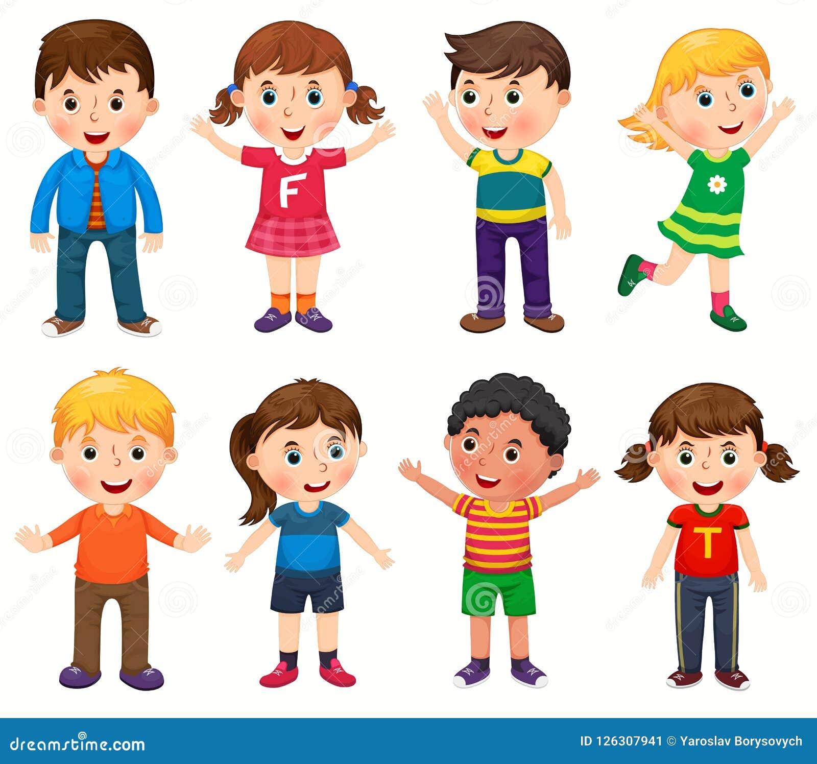 Счастливые дети в различном векторе положений
