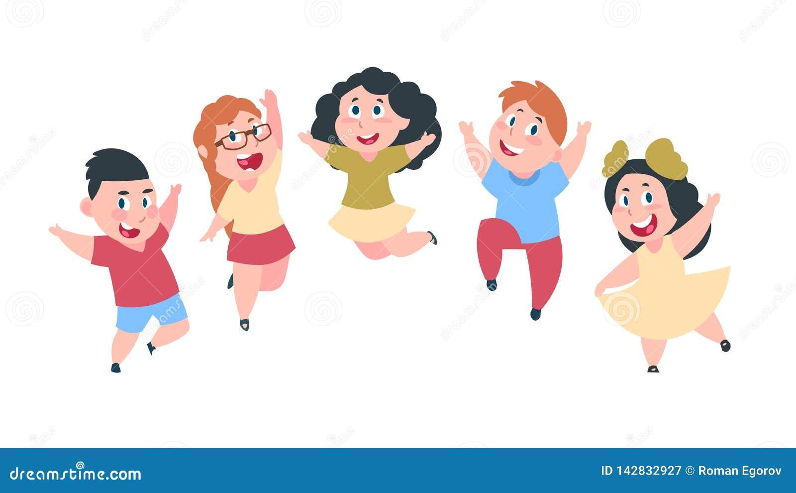 Счастливые малыши шаржа Милые дети мальчика и девушки, группа в составе студенты школы, концепция приятельства детей Изолированны