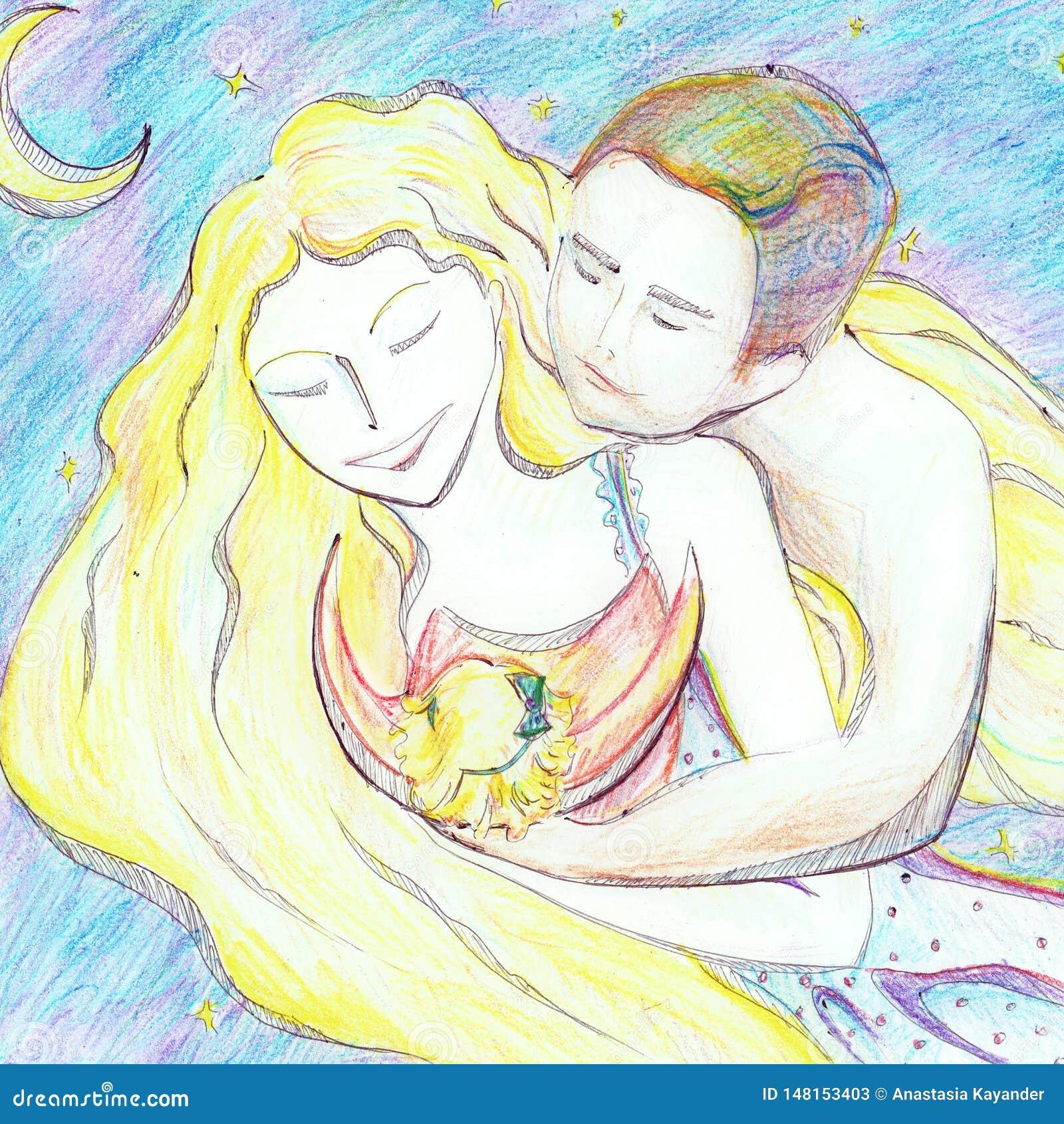 Счастливые молодые родители обнимая небольшую иллюстрацию младенца