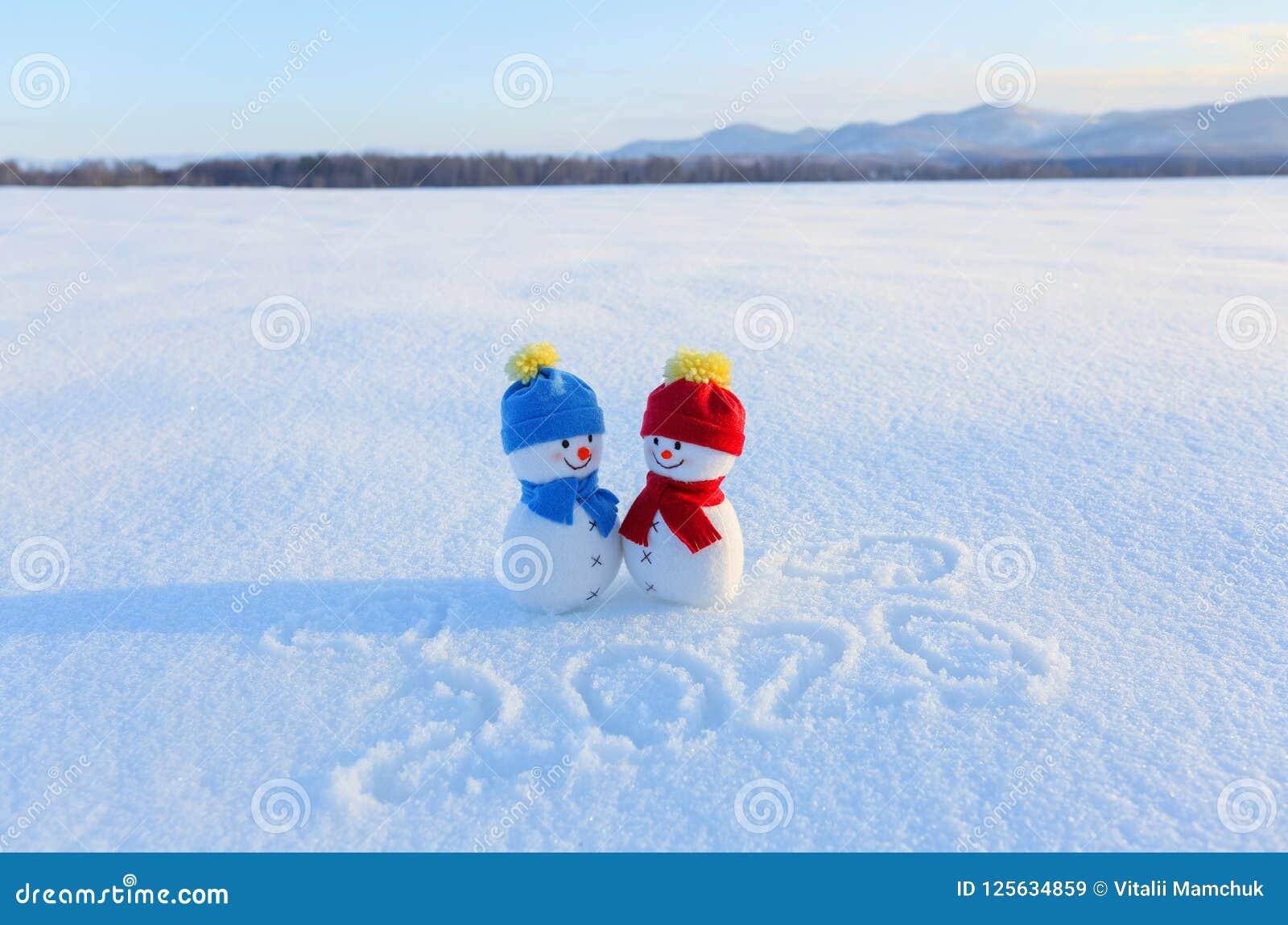 Счастливые пары снеговика в влюбленности стоя на снеге Сочинительства 2019 Ландшафт с горами в холодном зимнем дне