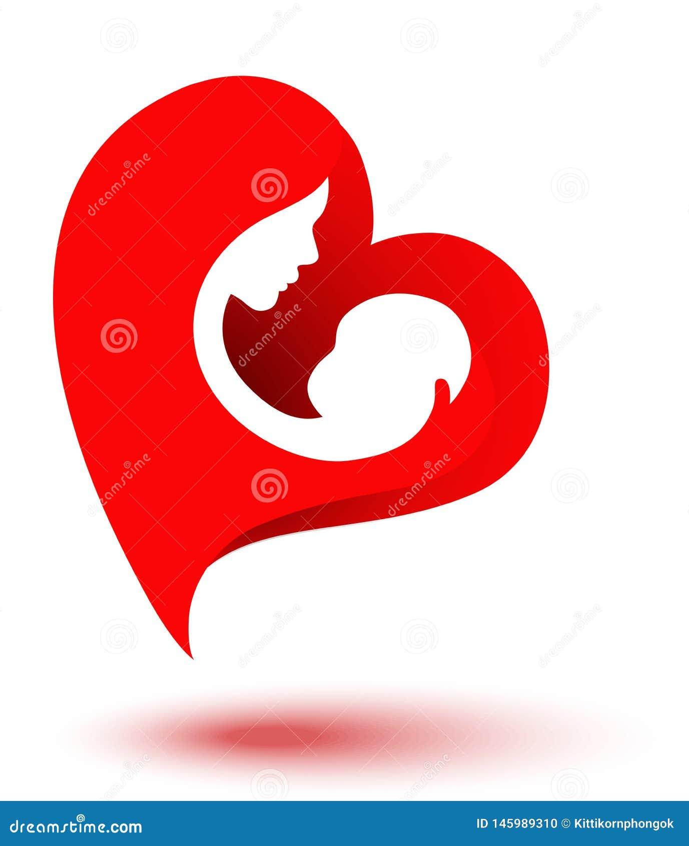 Счастливые родители имея полезного время работы с их маленькими детьми Мать и младенец в логотипе сердца форменном День матери Ма