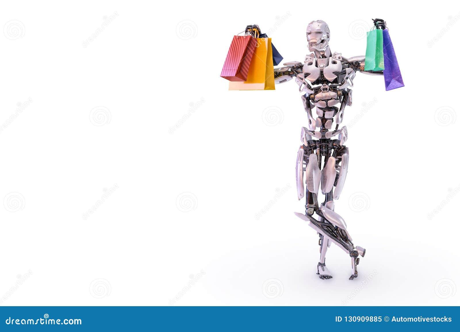 Счастливый андроид робота гуманоида держа красочные хозяйственные сумки Концепция защиты интересов потребителя и покупок иллюстра
