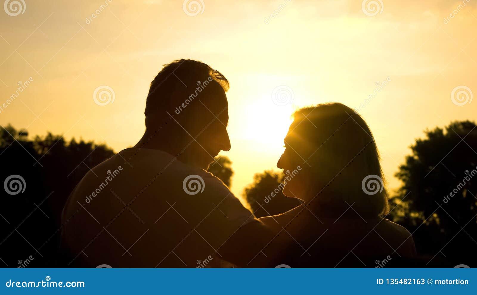 Счастливый выбытый супруг смотря один другого, тратя время совместно в парке захода солнца