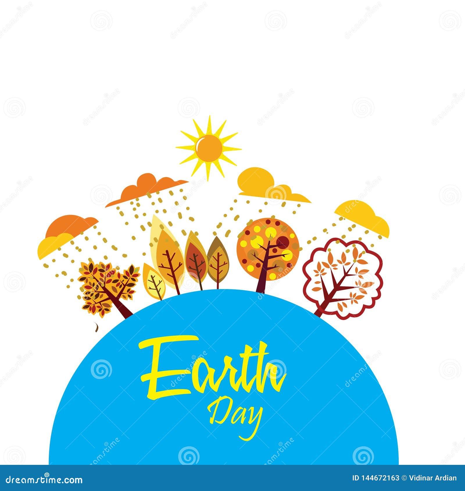 Счастливый день земли с миром и деревом - вектором