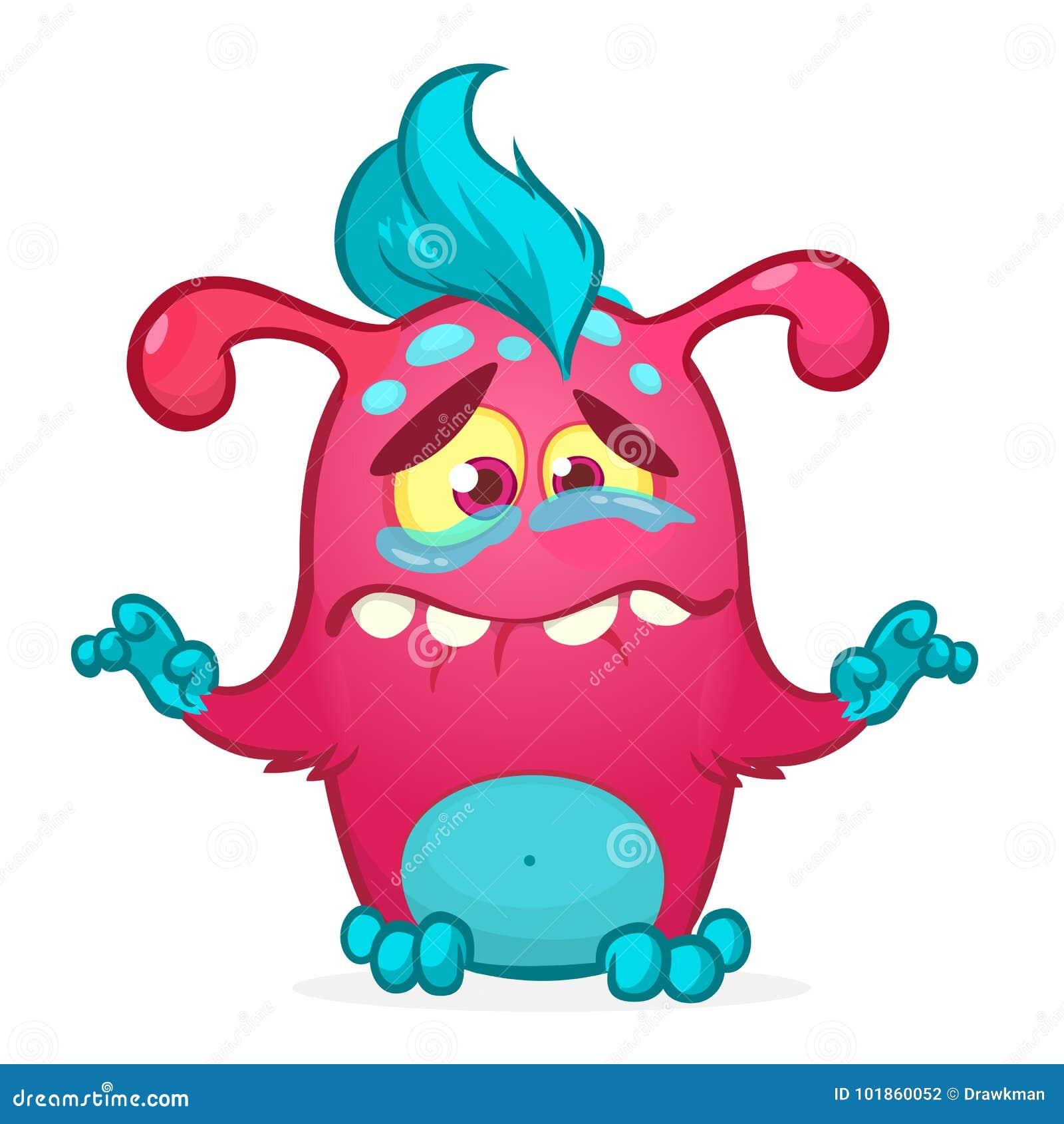 Счастливый изверг шаржа Иллюстрация вектора изверга хеллоуина розовая меховая
