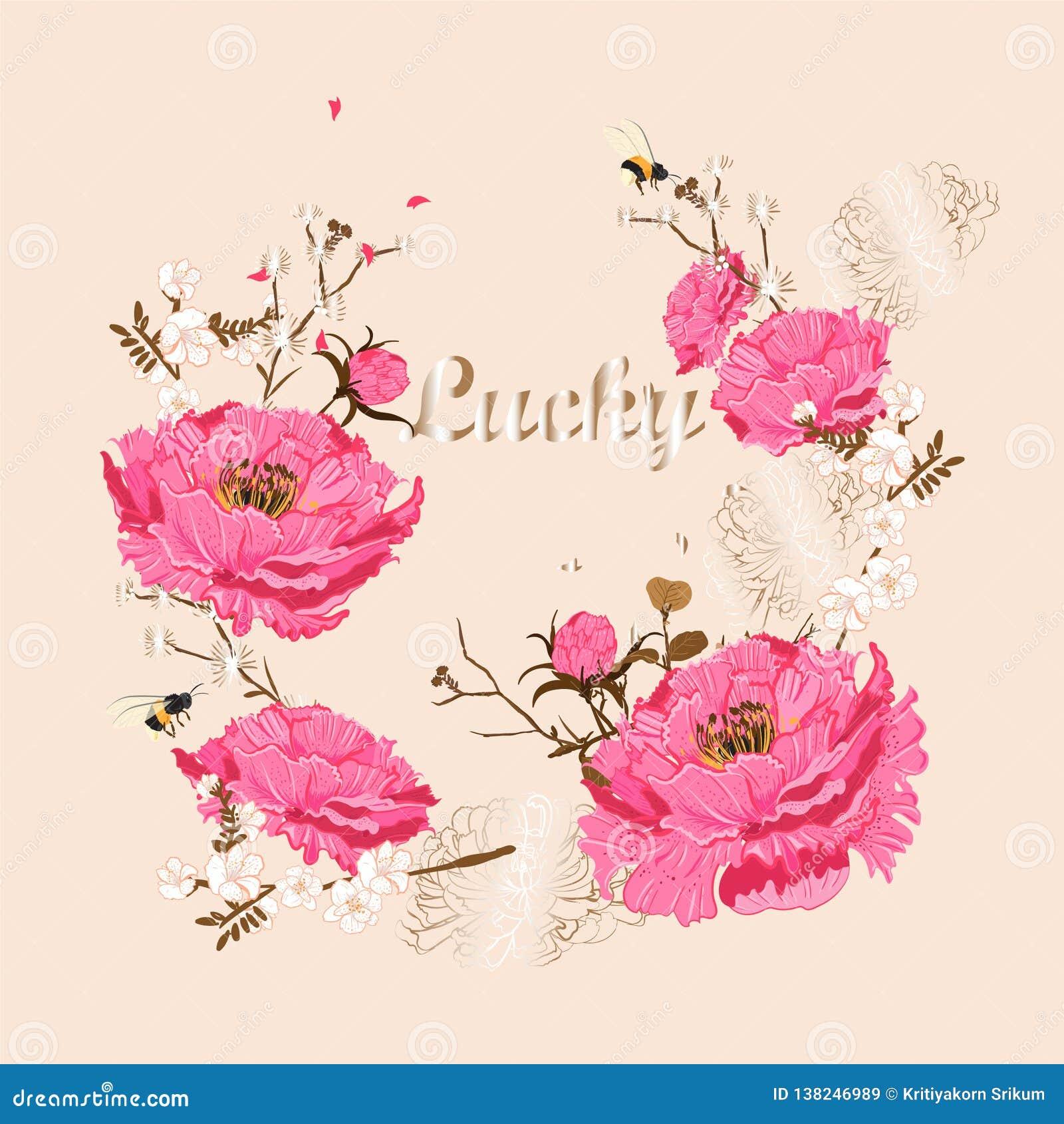 Счастливый китайский дизайн вектора приветствию Нового Года Китайский год, восточное цветение Сакуры пиона цветеня Завтрак-обед с