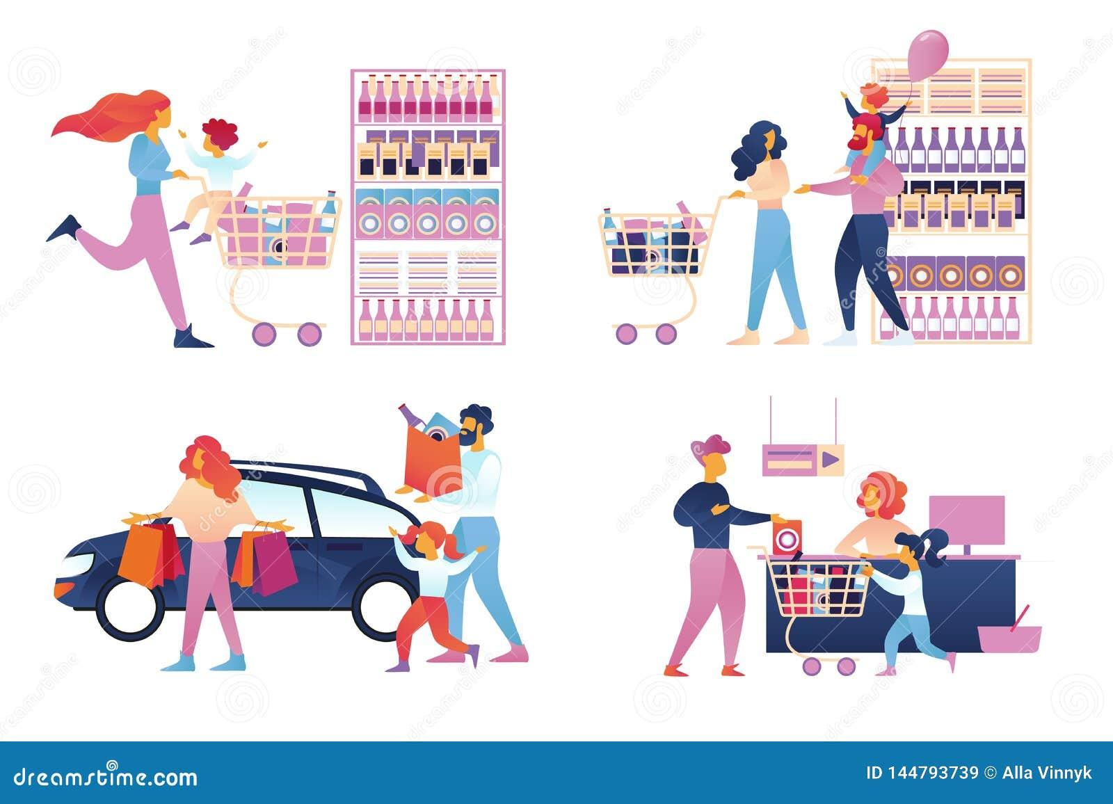 Счастливый набор покупок семьи изолировал Супермаркет
