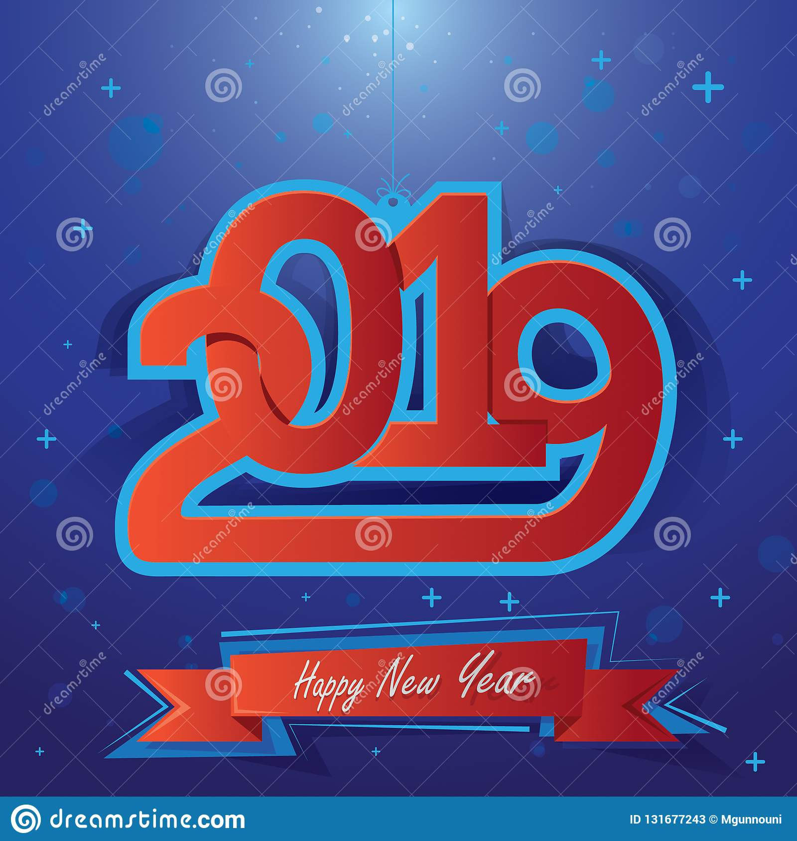 Счастливый Новый Год 2019 Иллюстрация вектора для holydays рождества