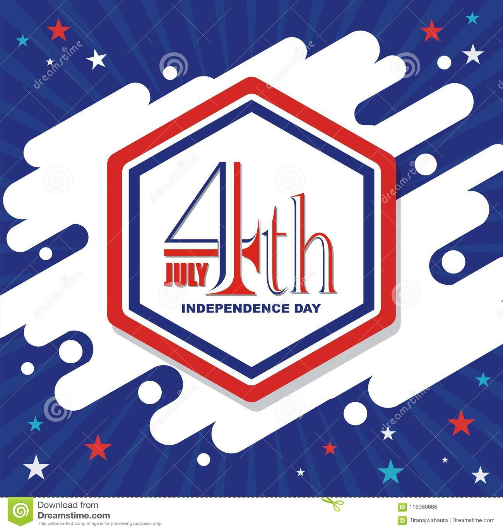 Счастливый 4-ое -го июль, дизайн вектора Дня независимости США
