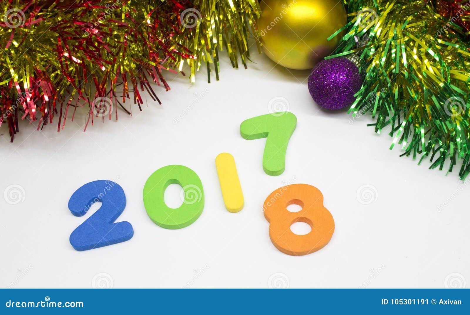 Счастливый цифр 2017 Нового Года 2018 предпосылок украшения