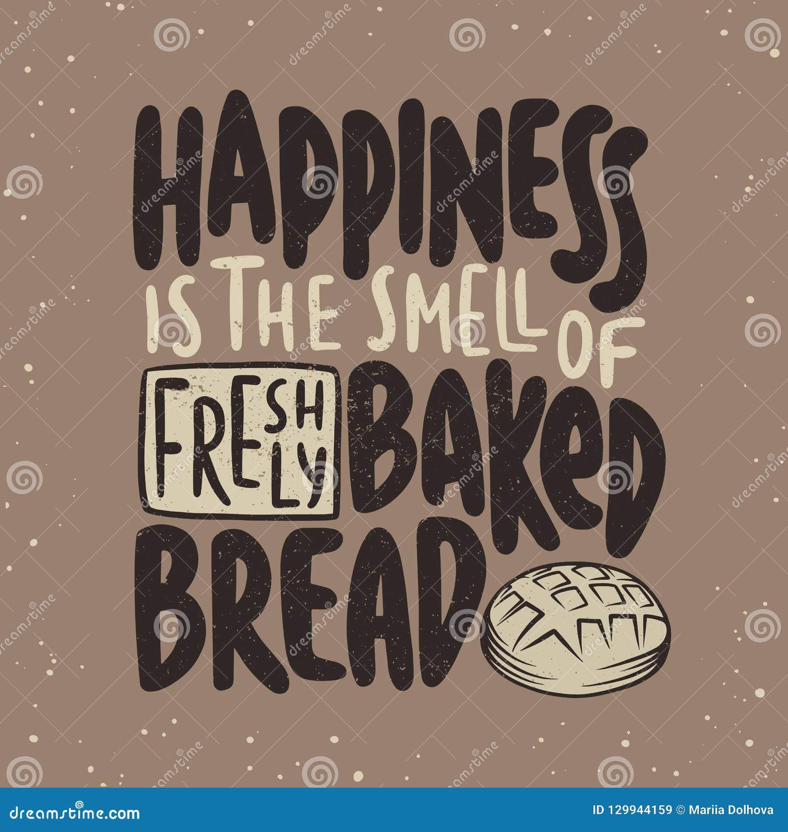 Счастье запах свеже испеченного хлеба Рукописная литерность Современная каллиграфия