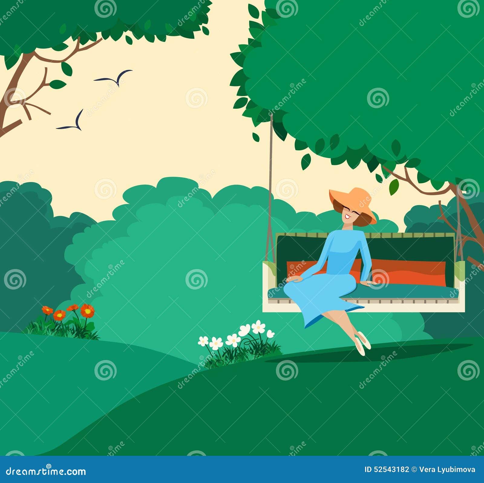 Счастливая грациозно женщина сидя в саде лета