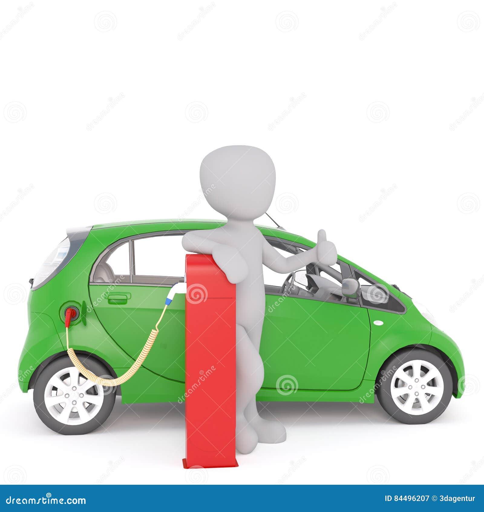 Счастливая диаграмма шаржа перезаряжая электрический автомобиль