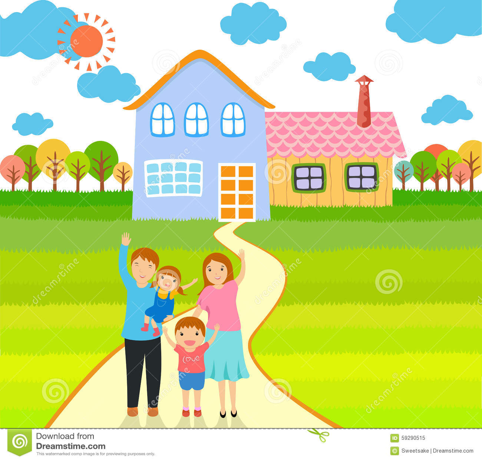 Счастливая семья в доме рисунок