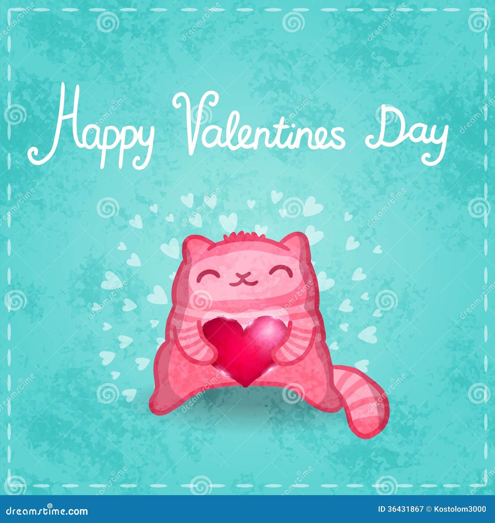Счастливая карточка валентинок. Милый кот с сердцем.