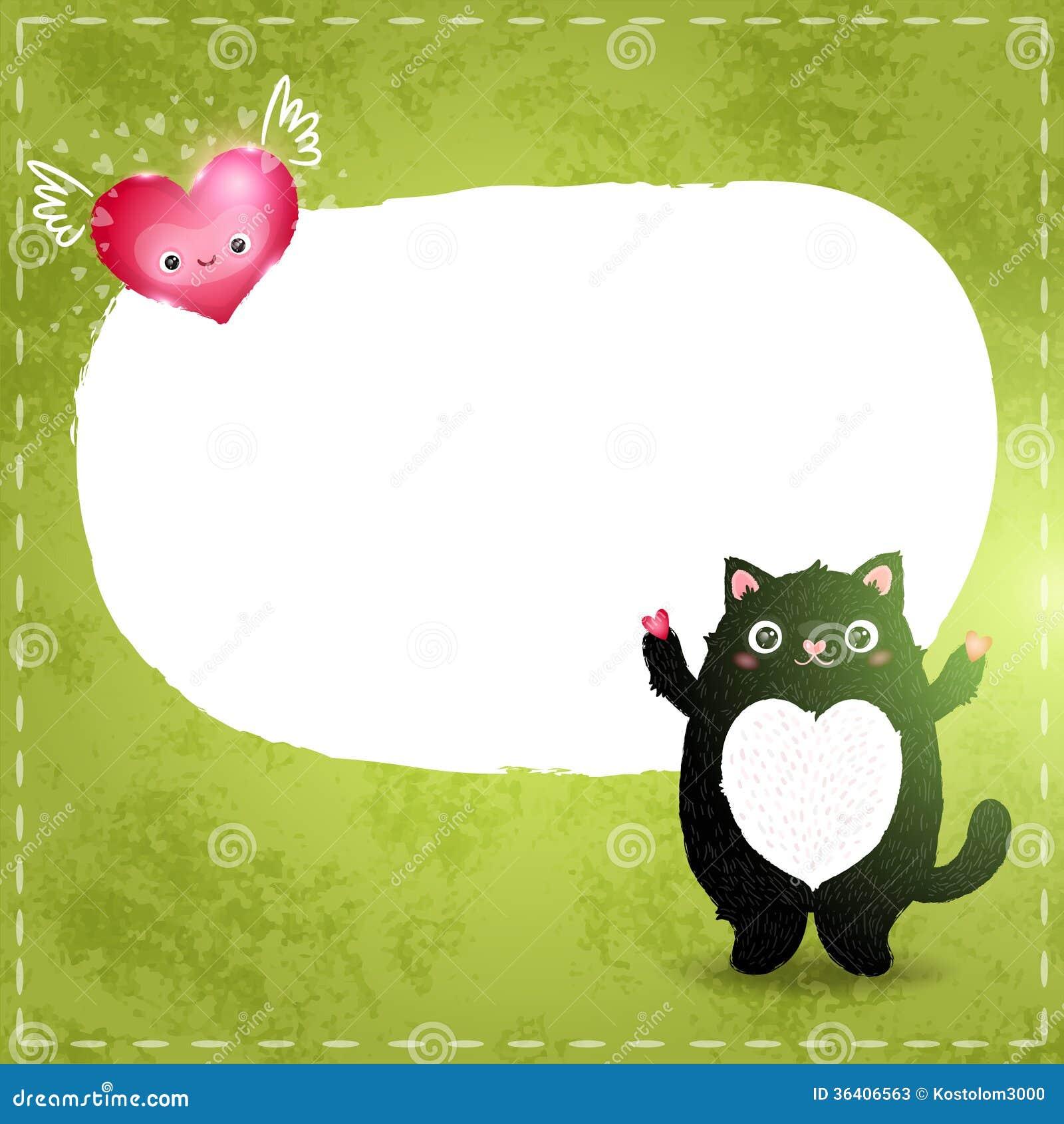 Счастливая карточка дня валентинок с котом и сердцем