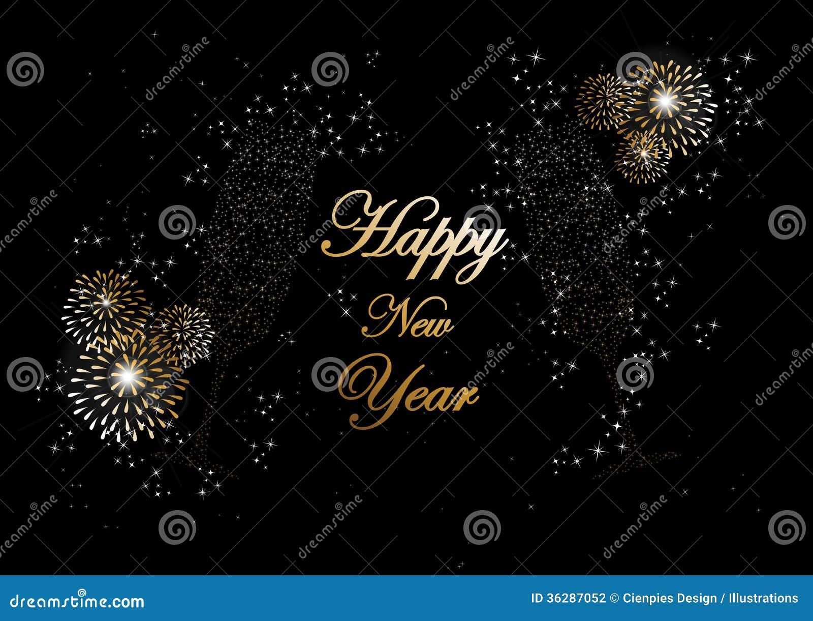 Счастливая Нового Года шампанского фейерверков поздравительная открытка 2014