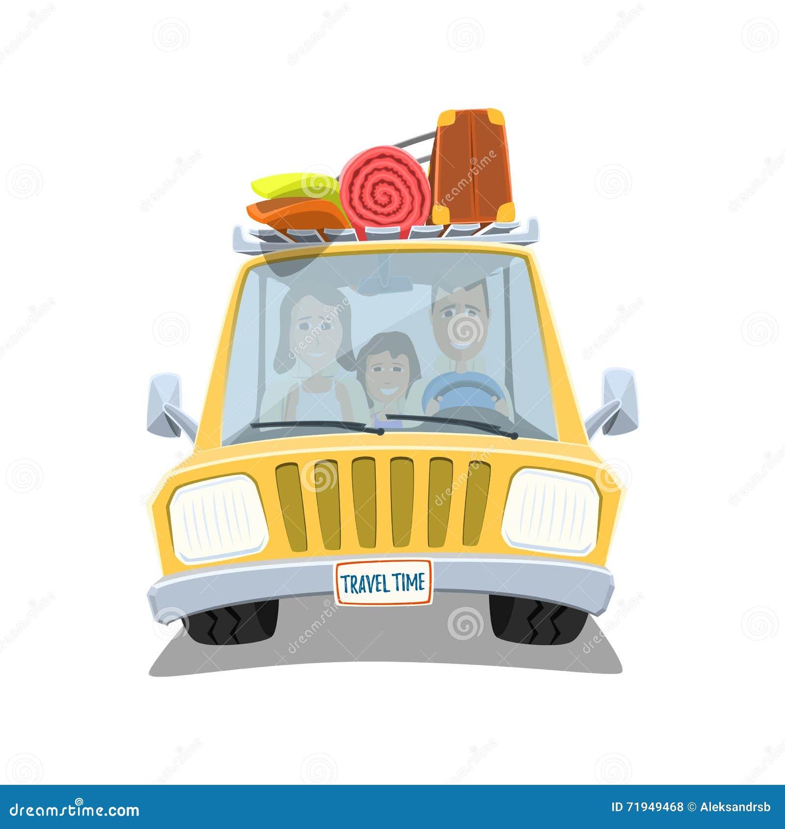 Счастливая семья путешествуя в автомобиле