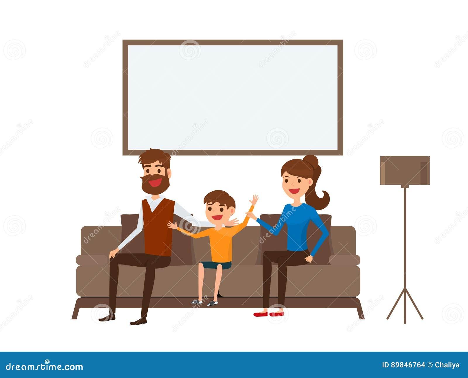 Счастливая семья сидя на софе в живущей комнате Отец, мать и дети Плоский стиль дизайна