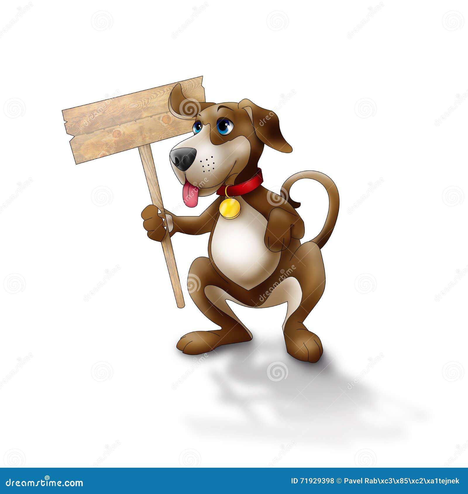 Счастливая собака с знаком