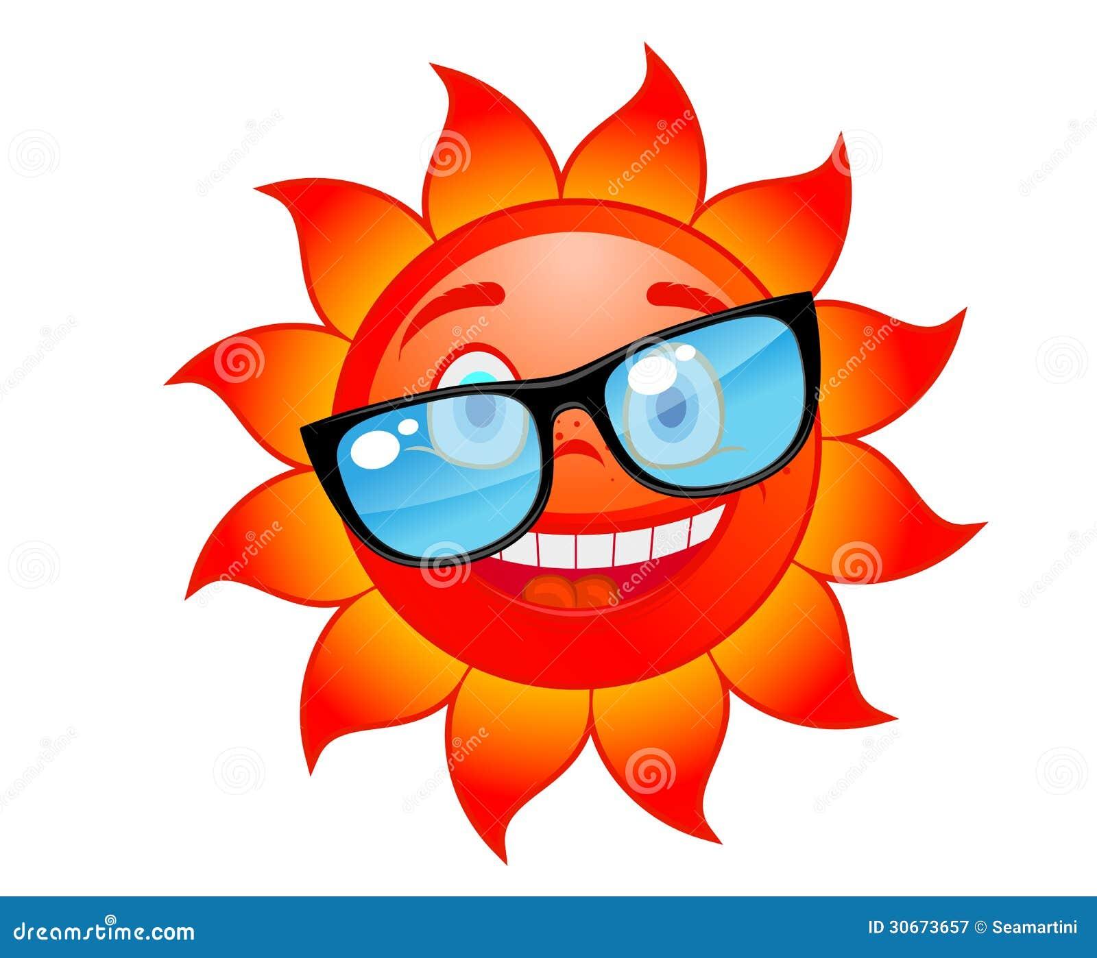 e6e77b52489c Счастливое солнце в солнечных очках Иллюстрация вектора ...