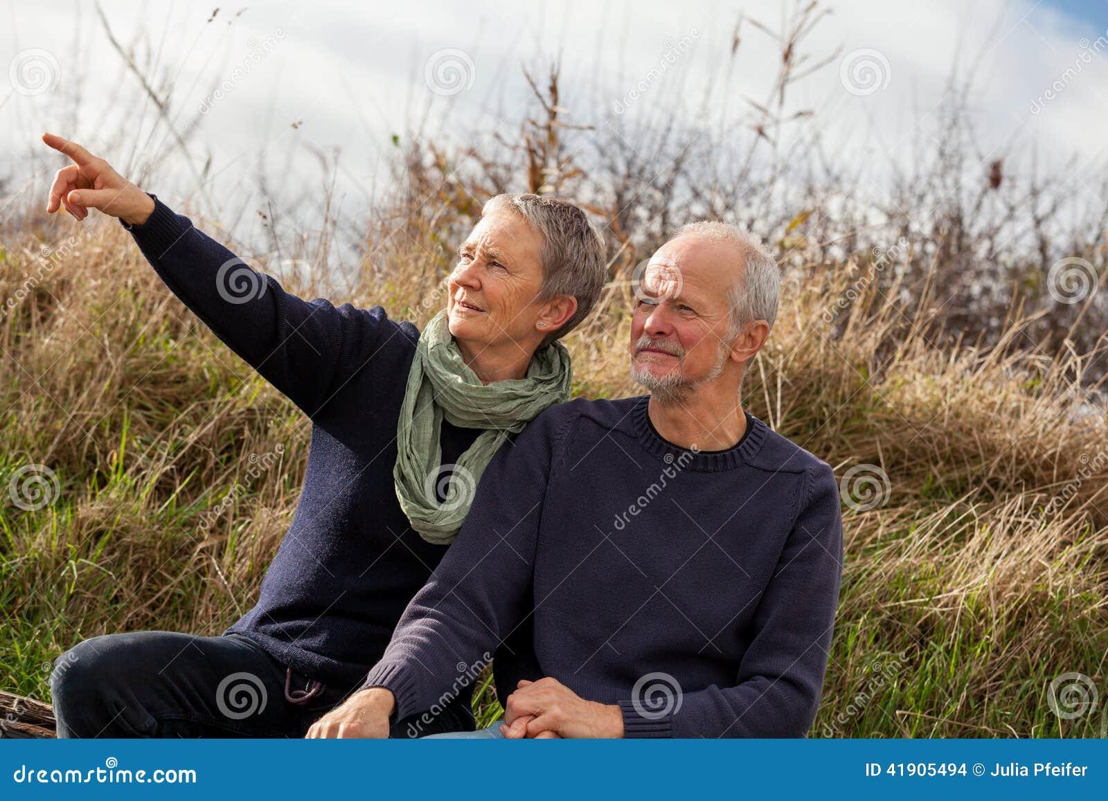 Счастливые старшие пары ослабляя совместно в солнечности