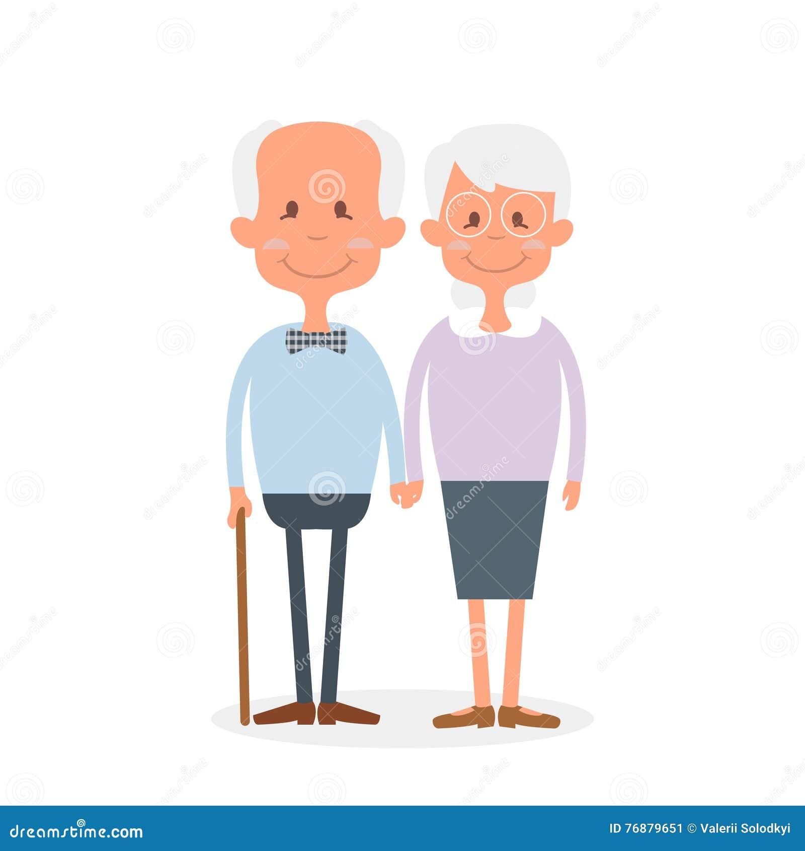 Счастливые старые пары совместно Милые пары старшиев держа руки Счастливый день дедов Иллюстрация вектора счастливого выхода на п