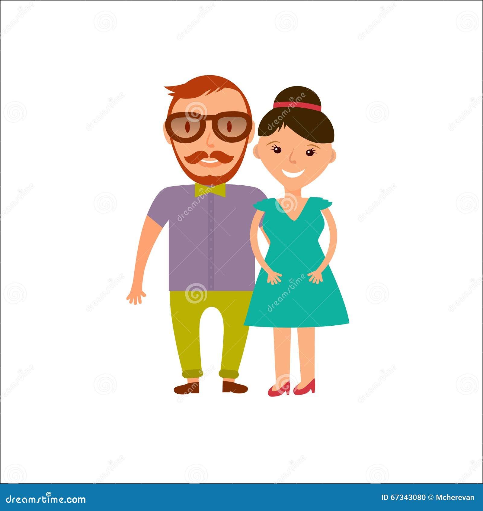 Счастливые усмехаясь пары в плоском стиле Человек и ...