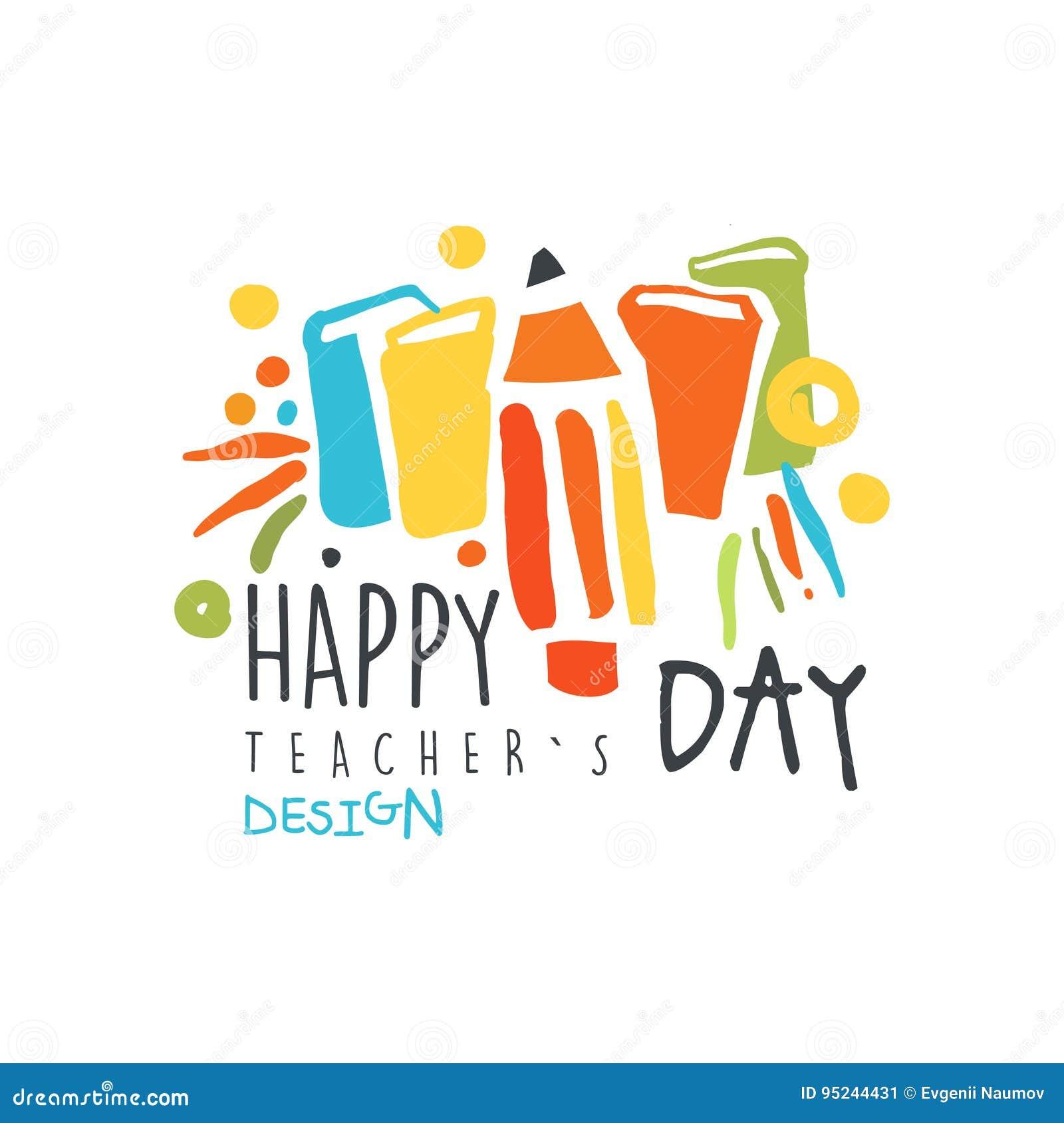Счастливый дизайн ярлыка дня учителей, назад к иллюстрации вектора шаблона логотипа школы графической красочной нарисованной руко